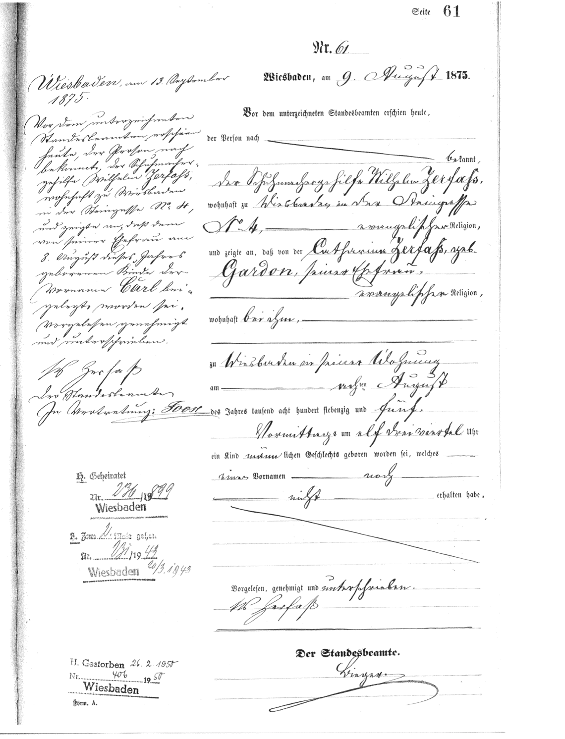 Civil Birth Registration, Wiesbaden, Darmstadt, Hessen, Germany, 1875