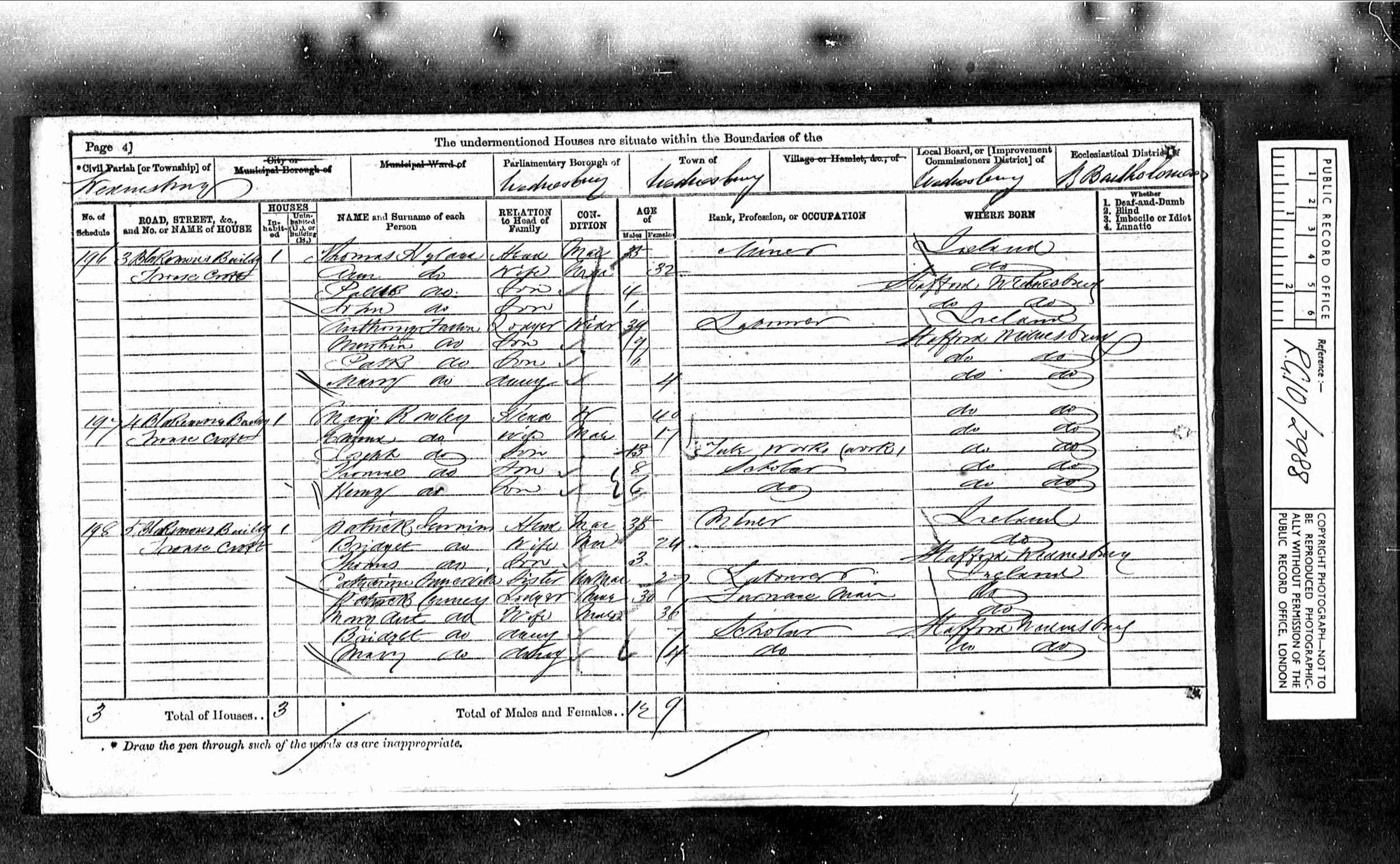 Census Record, Wednesbury, Staffordshire, England