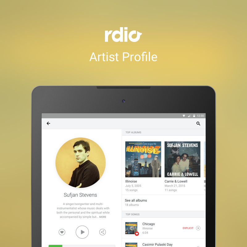 Rdio | Artist Profile and Albums | Tablet     Tablet designs for Artist Profile and Album pages.