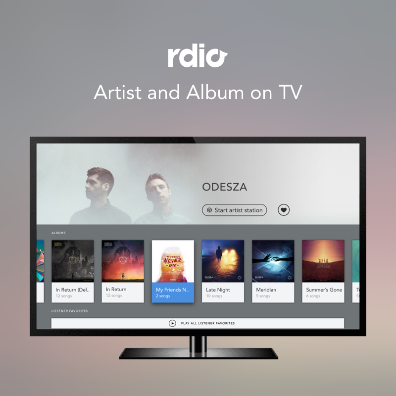 Rdio | Artist Profile and Albums | TV     TV designs for Artist Profile and Album pages