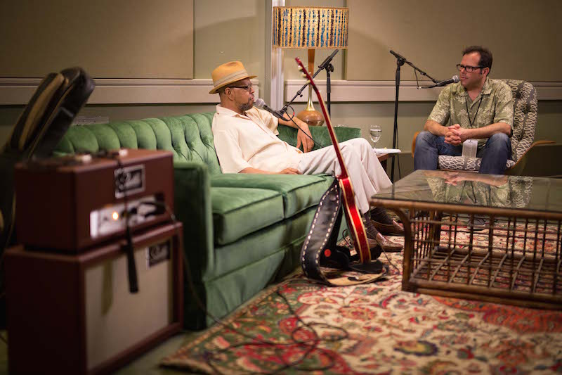 Rob Payer interviewing Larry Garner for Backstage at the Blues Fest (Brian Pavlich)