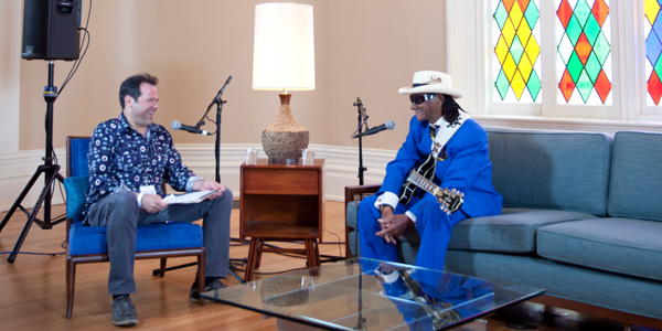Rob Payer interviewing Little Freddie King during the 2014 Backstage at the Blues Fest. Photo by Brian Baiamonte.