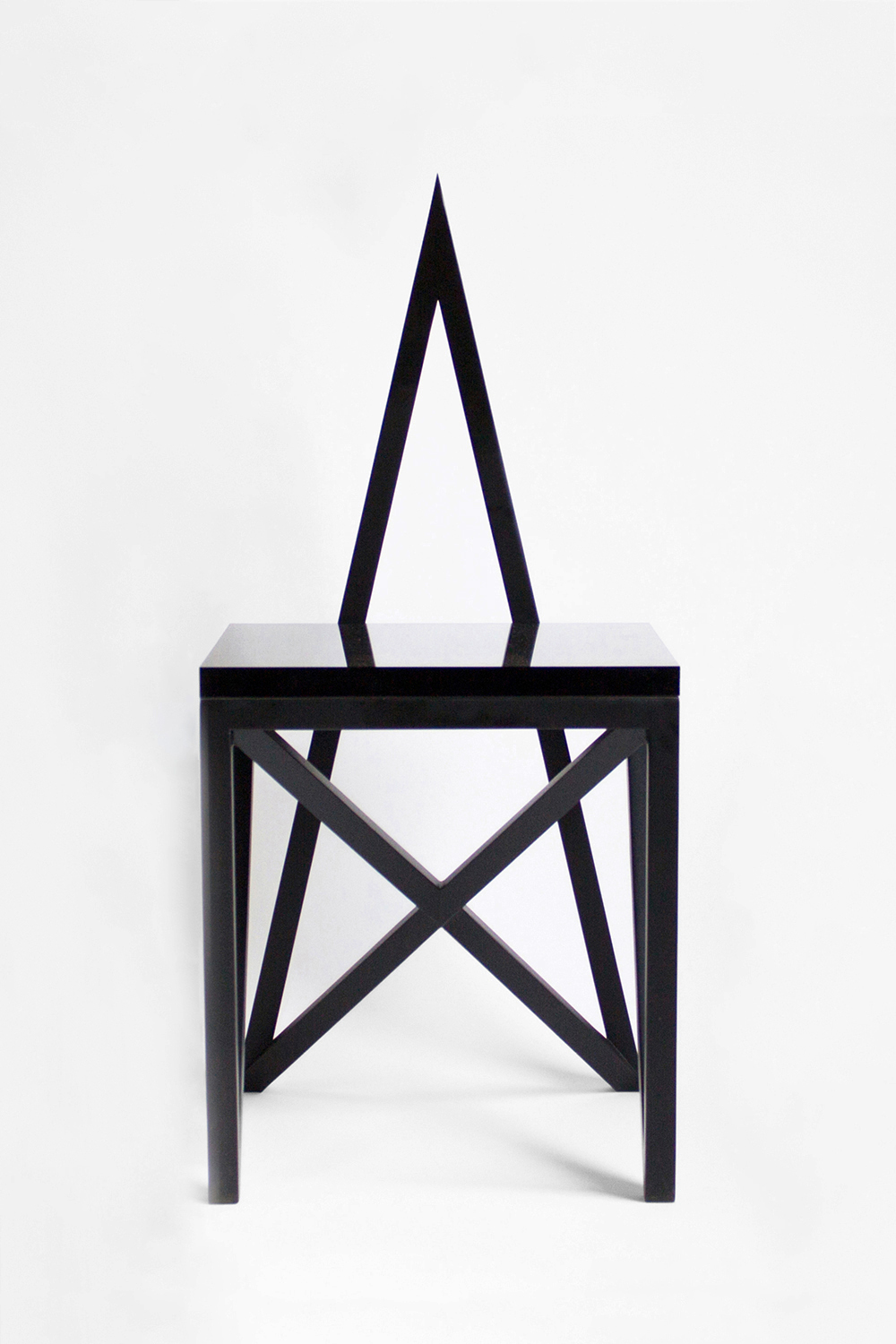 PAGAN CHAIR, 2014 BLACK POWDER COATED STEEL WITH LUCITE SEAT  PDF  -  INQUIRE  +  MORE
