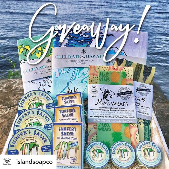 Check out our friends @islandsoapco 🙌 IT'S GIVEAWAY TIME!! 🙌 We're teaming up with 2 awesome local businesses @meliwraps & @cultivatehawaii for an Aloha Summer Giveaway! 🌺🌴 One lucky winner will receive $160 worth of goodies!! Prizes are:  @islandsoapco & @surferssalve - 3 lg tins & 3 small tins of Surfer's Salve, 3 Surfer's Salve soaps ($66 value)  @meliwraps - 2 Meli Wrap sets ($40 value)  @cultivatehawaii - 3 tea towels ($54 value)  To Enter:  1) Like this photo 2) Follow-  @islandsoapco  @surferssalve  @meliwraps  @cultivatehawaii  3) Tag 3 friends (or more for bonus entries) in the comments below. •US only• Giveaway is not affiliated with Instagram• 🌺Contest ends Monday August 12th at 6pm HST. Winner will be announced the next day 🌺  Mahalo & Good Luck!! 🍀🌈🍀