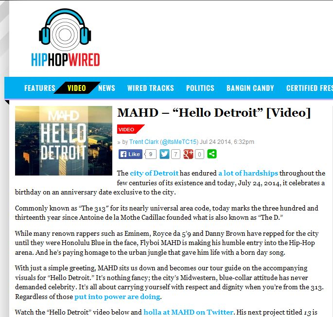 Hip Hop Wired Features MAHD's 'Hello Detroit' Video For Detroit's 313th Birthday