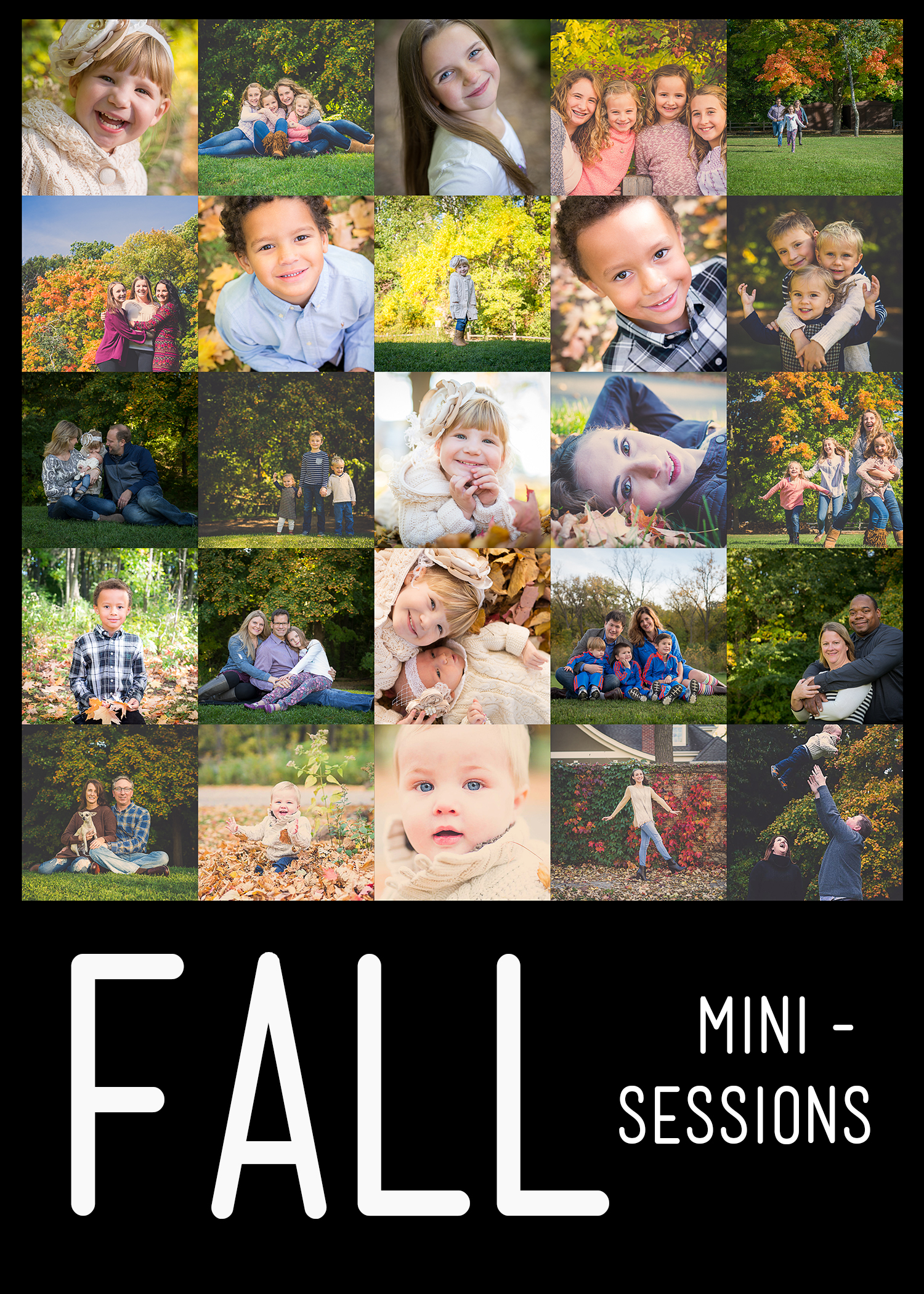 This is ideal for a child/children, teen/tweens, adults, couples, maternity and families.      What:    20 minute Portrait Session      Where:    Specific local location (natural setting) will be communicated directly to clients 1-2 weeks prior to the session.      When:    Saturday, October 8th  Sunday, October 9th  Monday, October 10th      Appt times:    Time slots booking every 30 minutes from 3:00pm until sunset (approximately 6:00pm).      Cost:    $200 plus tax      Includes:    Portrait session, 6 digital images with print release and one 8x12 professional print of your choice from the session in an 11x14 white mat.     To express interest or book, please email  jennifer-erin@live.com  with the date and time of interest.  Time slots are booked first come, however I will try to accommodate all requested time or a time close to it if possible.       Mini Portrait Sessions are great in providing a limited amount of images with a professional print of your choice from the session.  If you're looking for a larger amount of images or for a session at a location of your choice, please consider booking a Regular Portrait Session.      Regular Portrait Session information and pricing can be found here:  http://www.jenniferbirney.com/investment/