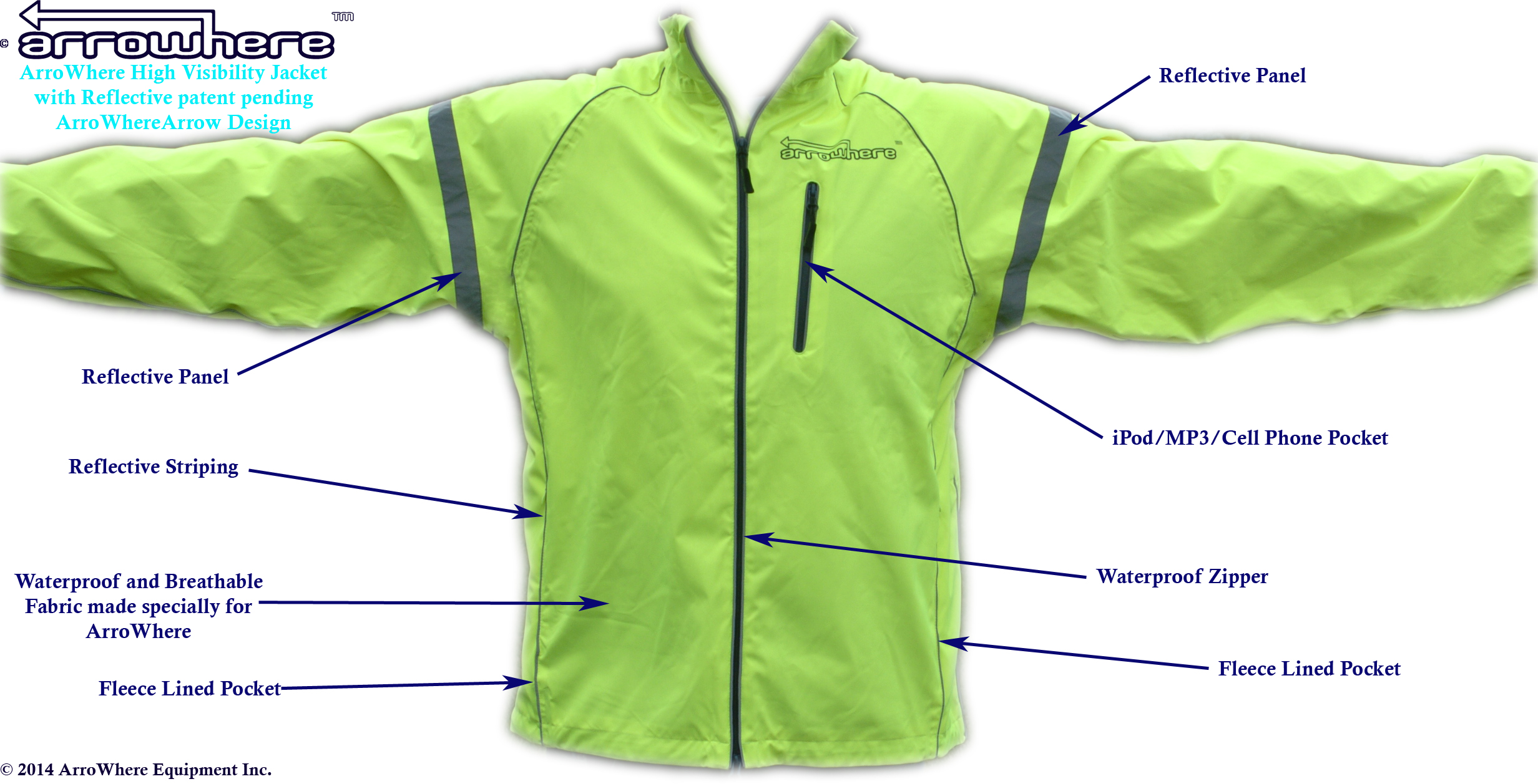 ArroWhere Equipment Inc. High Viz Jacket with Patent Pending Reflective Design (front)