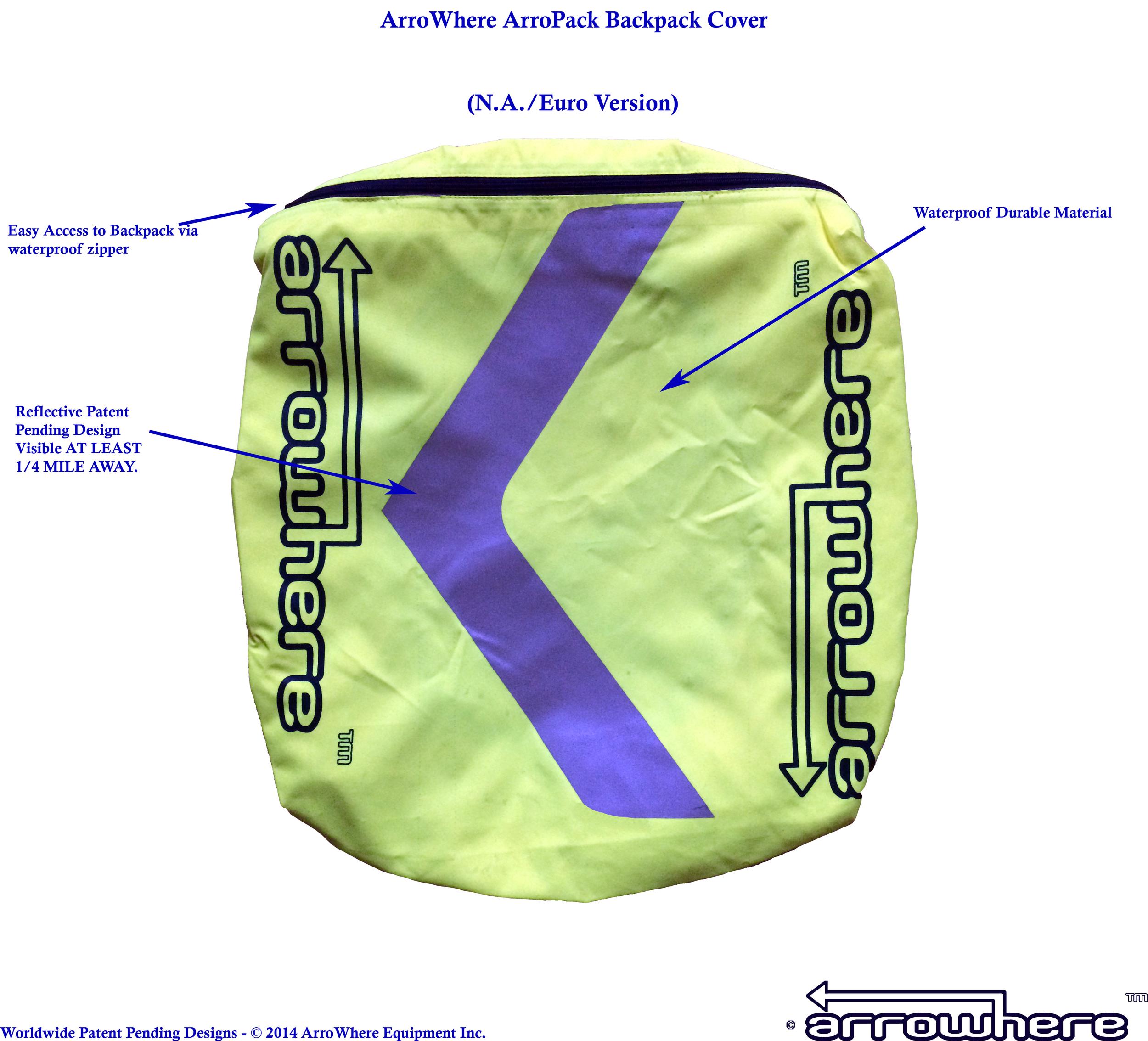 ArroWhere Equipment Inc. ArroPack Backpack Cover Description