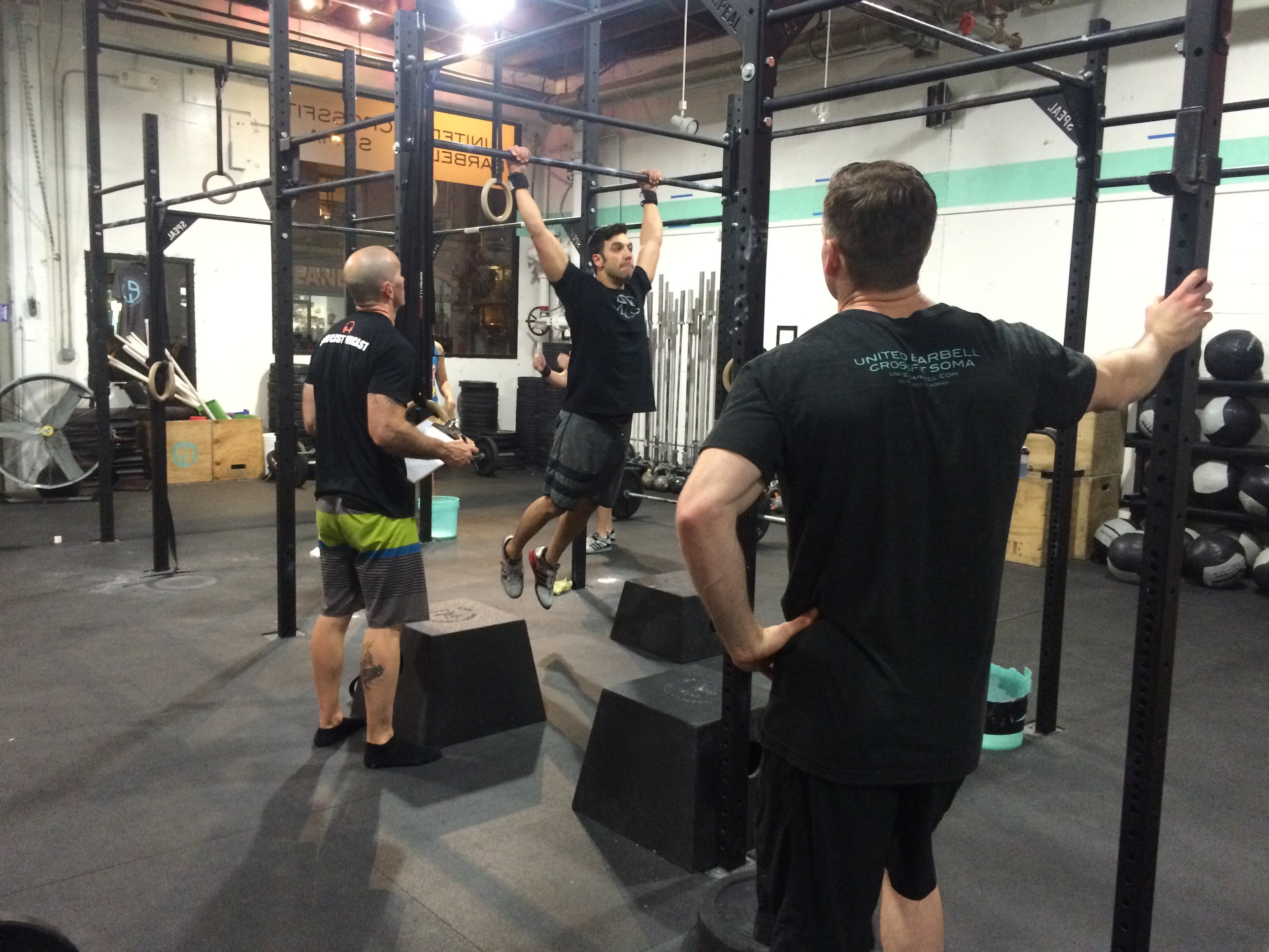 """Charles """"Chuckles"""" C. getting judged on some quality chest to bar pull ups."""