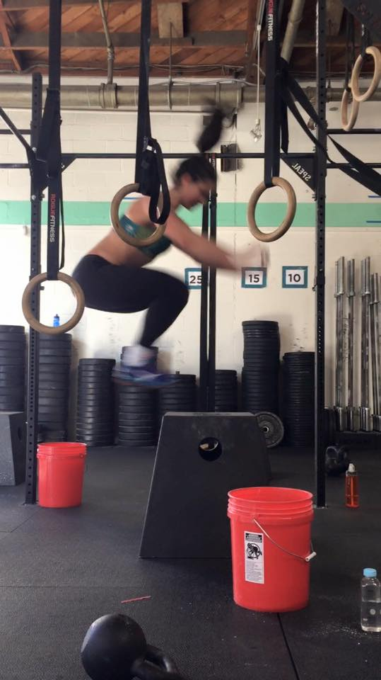 Amy B. flying on the box jumps