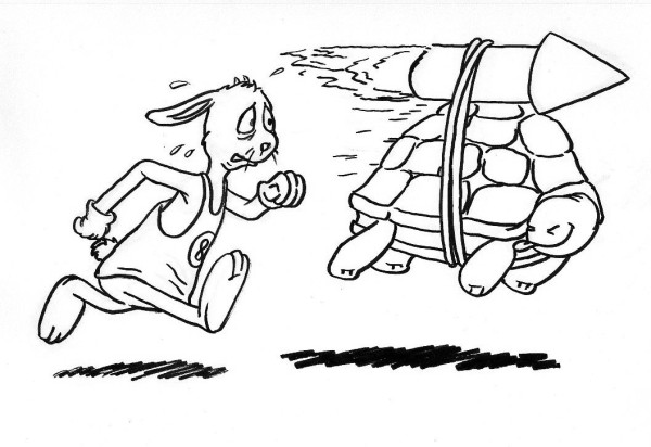 Sometimes even the tortoise has to pick up his pace.