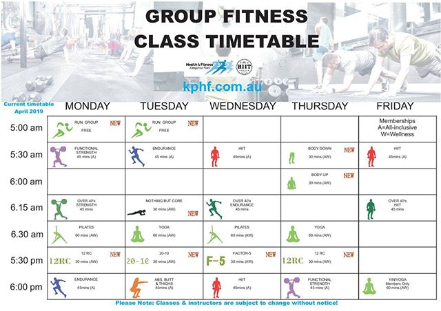 ATTENTION We have a new Timetable starting Monday1 st April. New Classes, New Programs, New Instructors. All ready to help you reach your goals  It is all happening next week. Something for everyone.  We look forward to seeing you try the new classes.  Any Questions come and see reception.