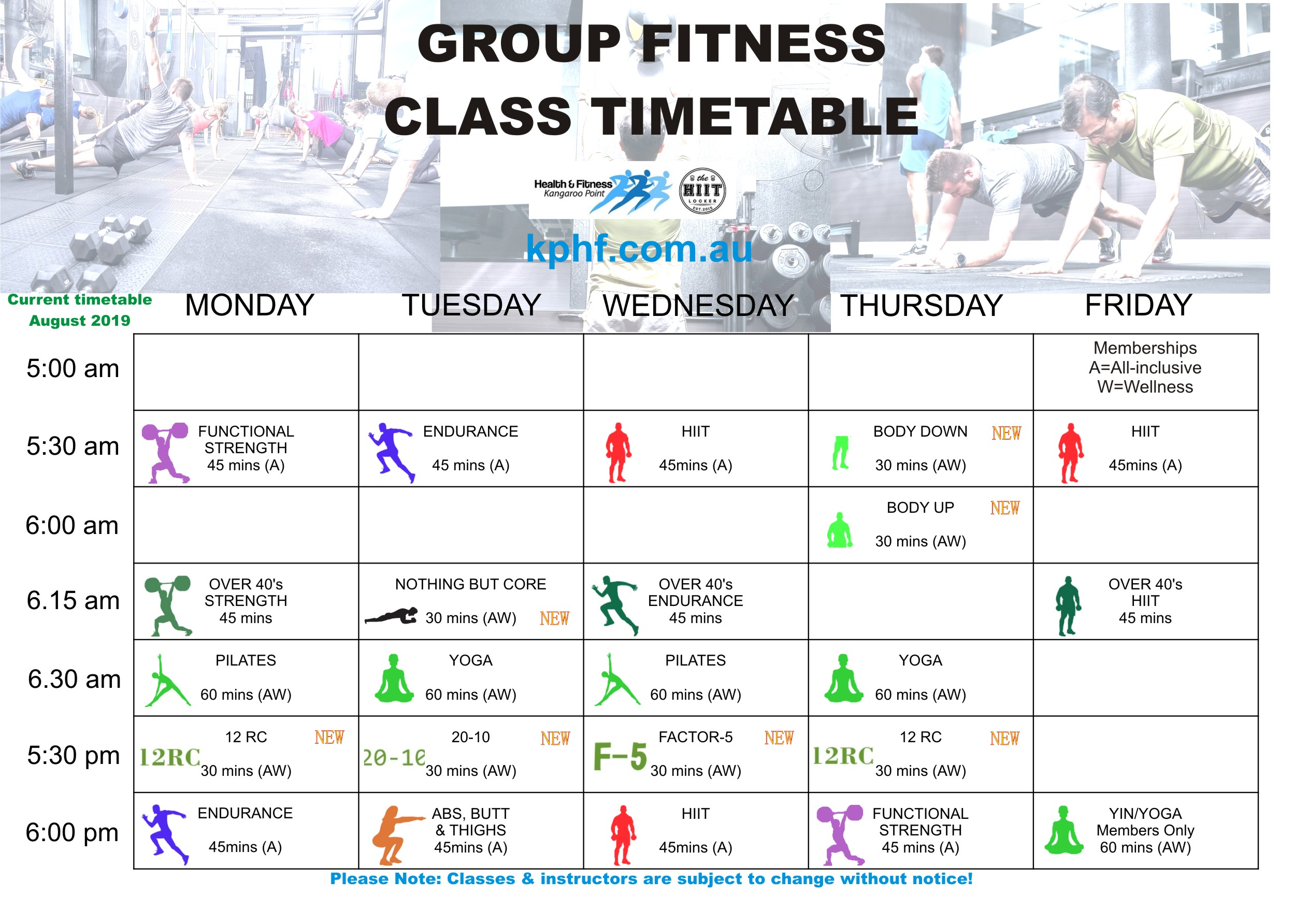 Group Fitness & Wellness Class Timetables - Updated August 2019.