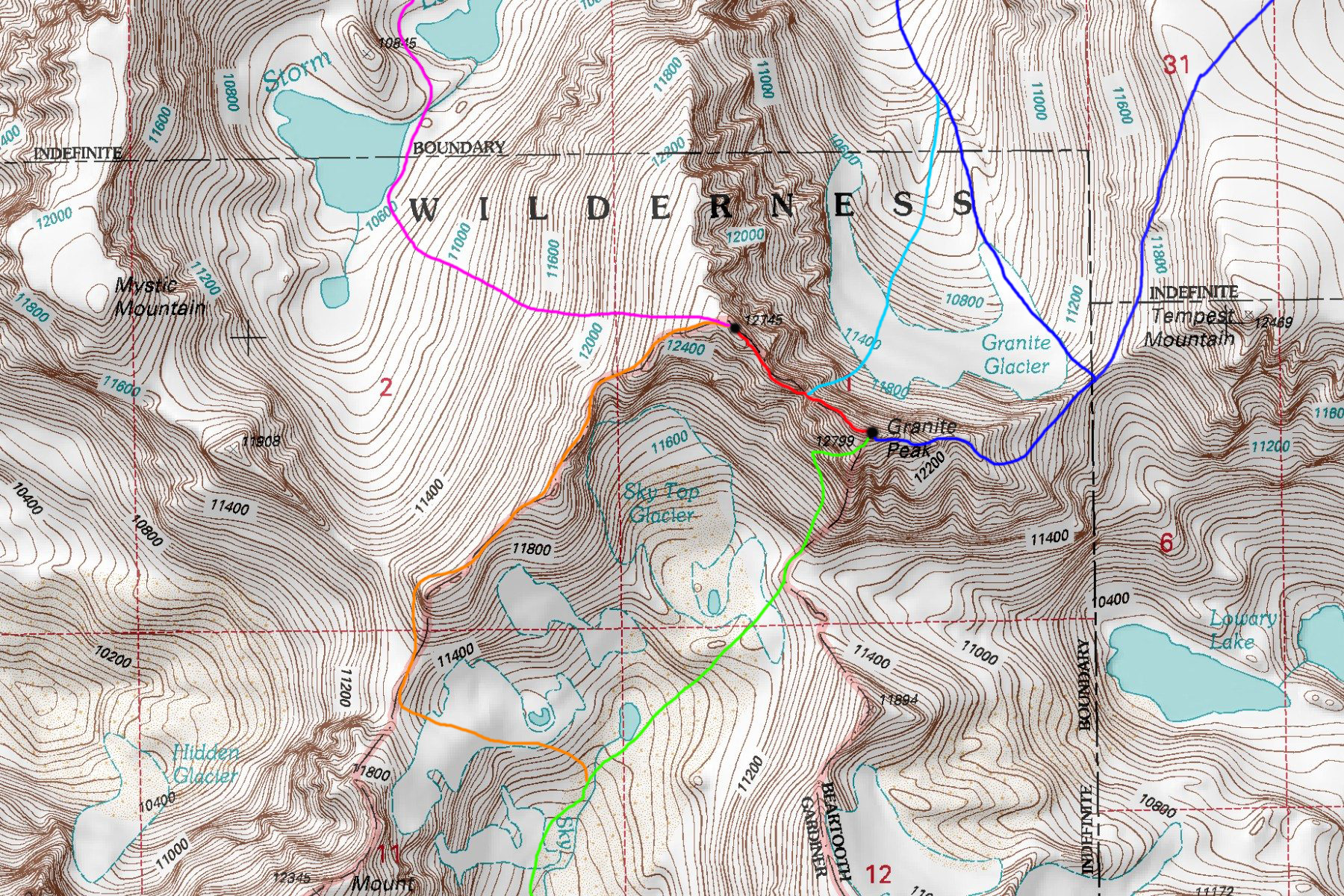 DARK BLUE: Granite Peak East Ridge - Class 4 (Chosen Route via Froze-to-Death Plateau in NE corner) LIGHT BLUE: Granite Peak Notch Couloir - Class 5.4 and Steep Snow GREEN: Granite Peak Southwest Couloir - Class 3 RED: West Granite to Granite Peak Traverse - Class 5.4 ORANGE: West Granite Peak Southwest Ridge - Class 2+ PURPLE: West Granite Peak West Face - Class 2