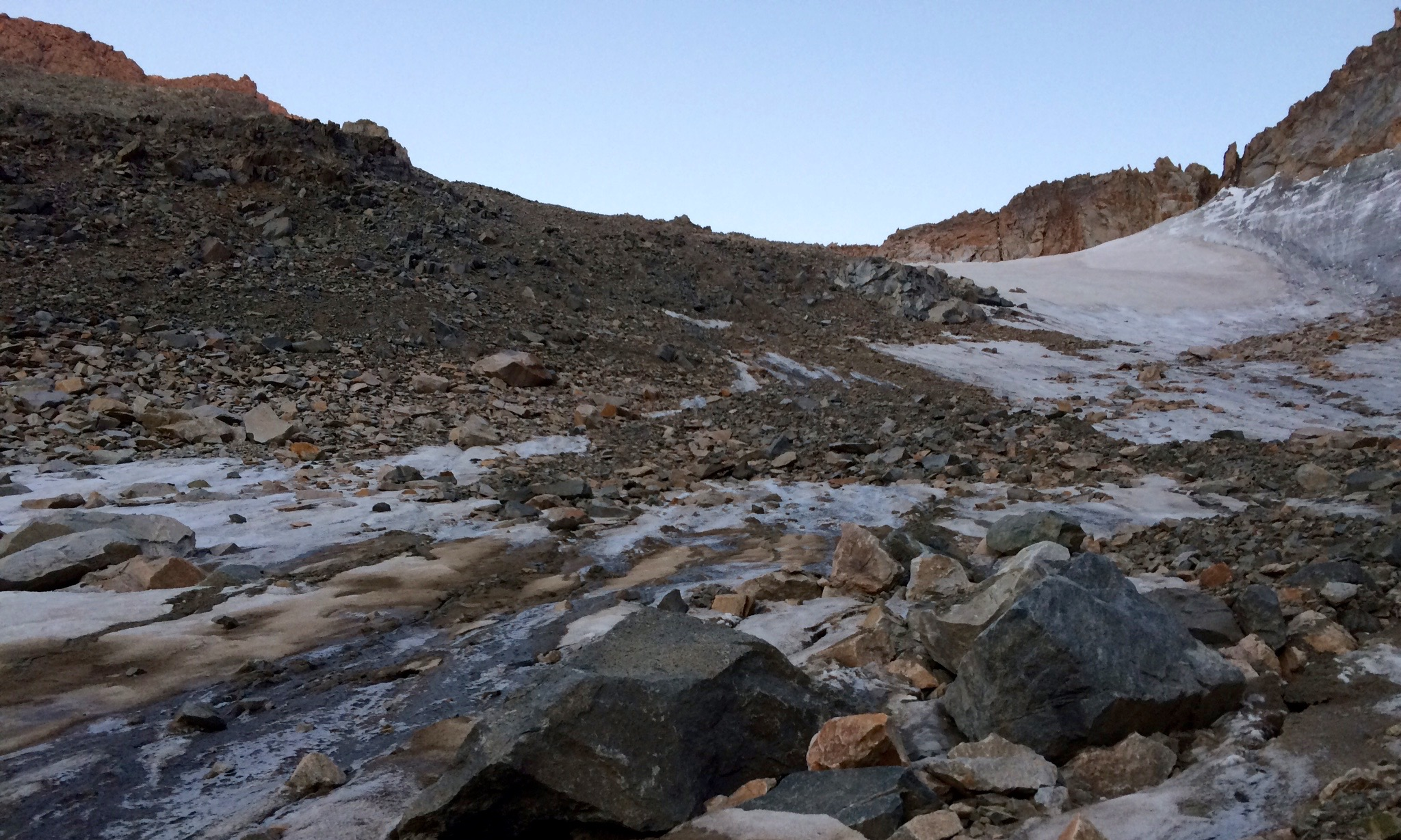 Scree for days on the way down to Avalanche Lake as the light fades away.  Photo Credit: Vasu Sojitra