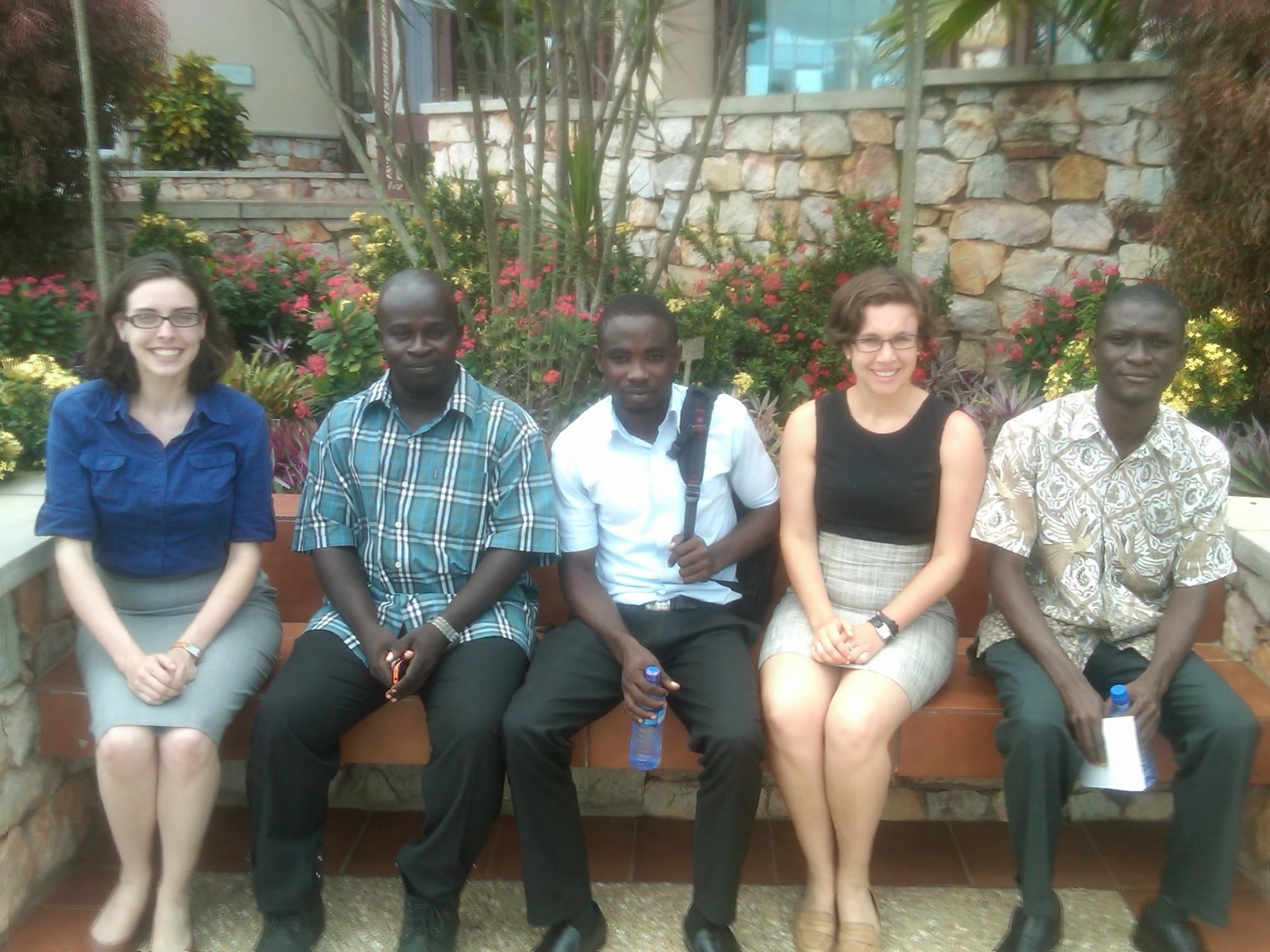 From left to right, Gill Henker (Sisu Global Health), Dr. Stephen Armah (professor of Economics), Isaac (Dr. Armah's TA), Katie Kirsch (Sisu Global Health) and Jude (student of entrepreneurship)