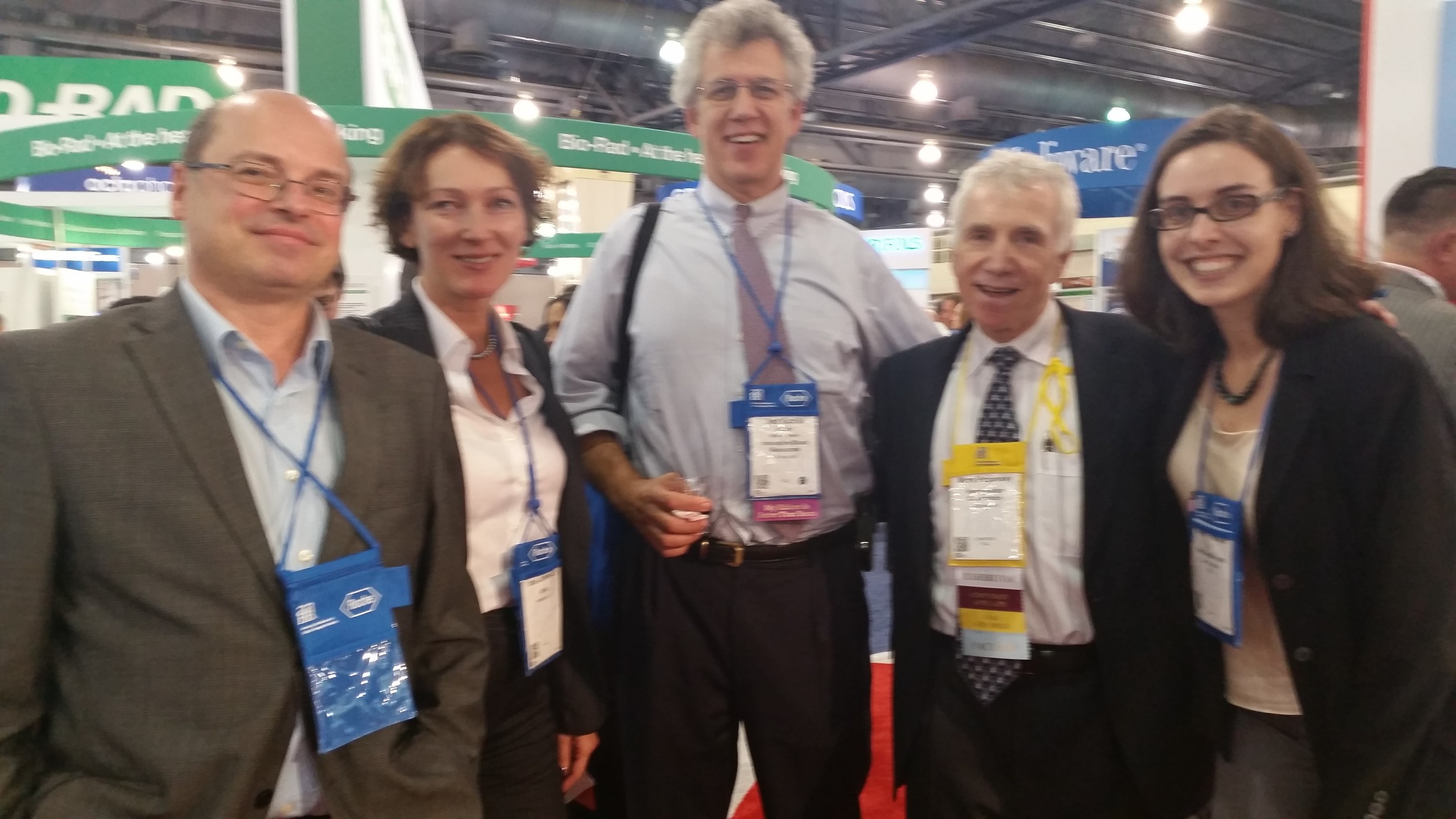 From right to left: Mark Popovsky, Chief Medical Officer ofHaemonetics; Inna Jurkevich, Senior program officer of the American International Health Alliance; Jed Gorlin, the Medical Director of Memorial Blood Centers; and Charles Munk, the IT consultant for AABB. Photo credit to Pat from the Red Cross.