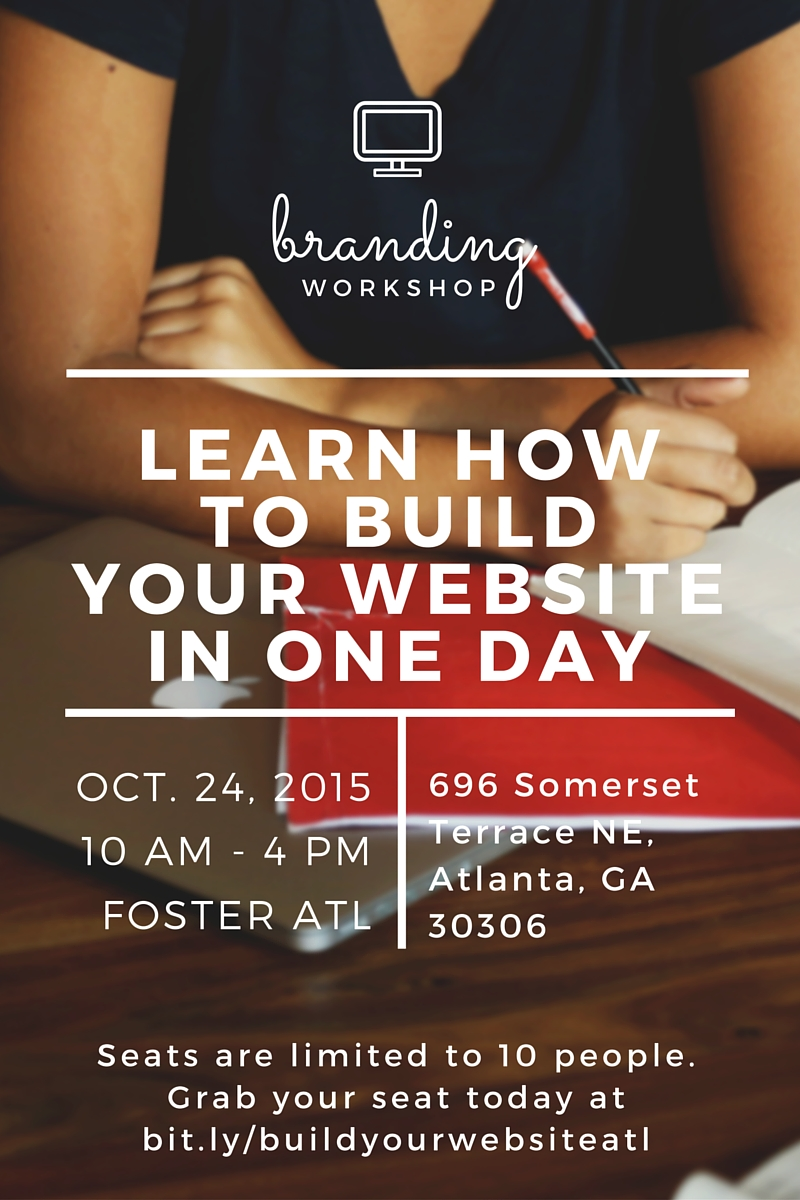 build your website in one day workshop Atlanta charity mahone
