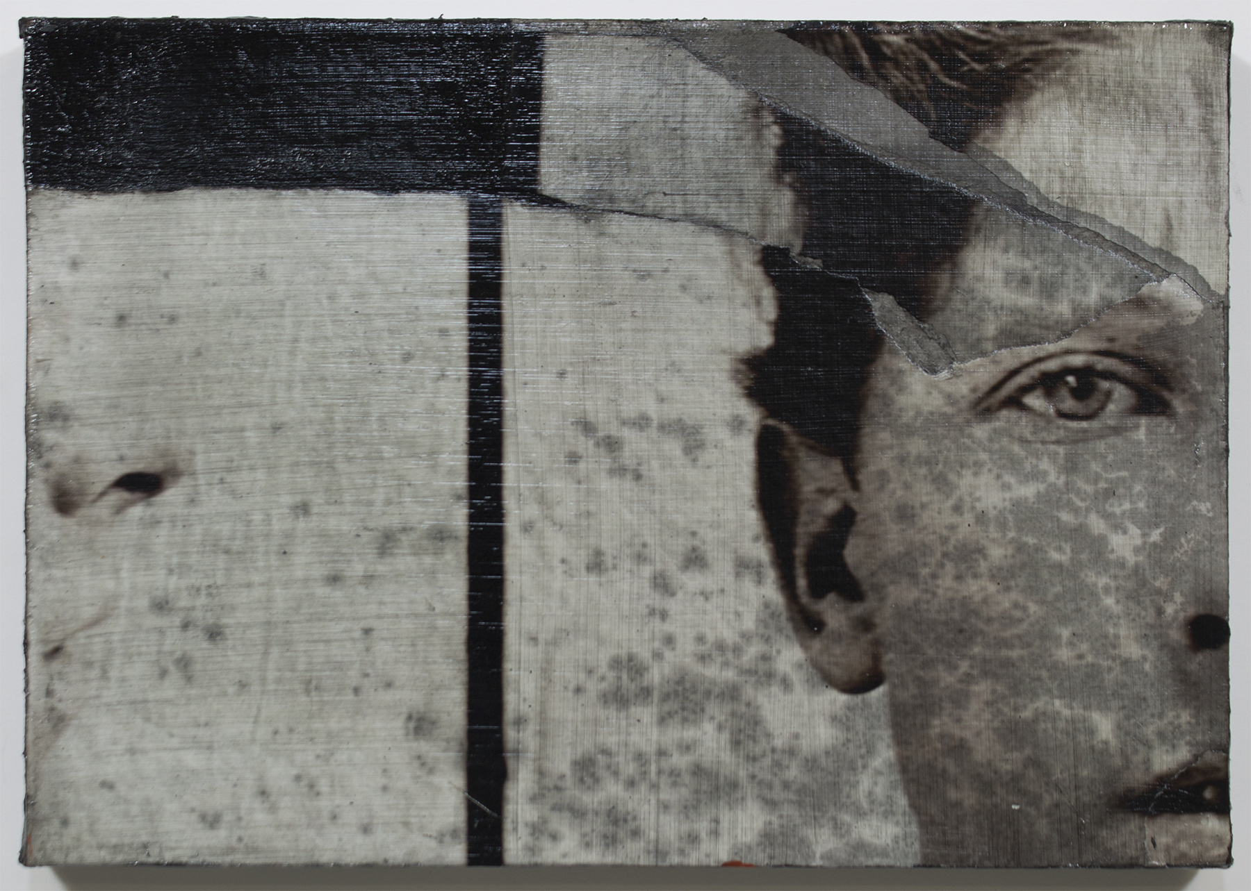 """Me and I  2015 / 14"""" x 17""""  Charcoal,Ink, and Print on canvas"""