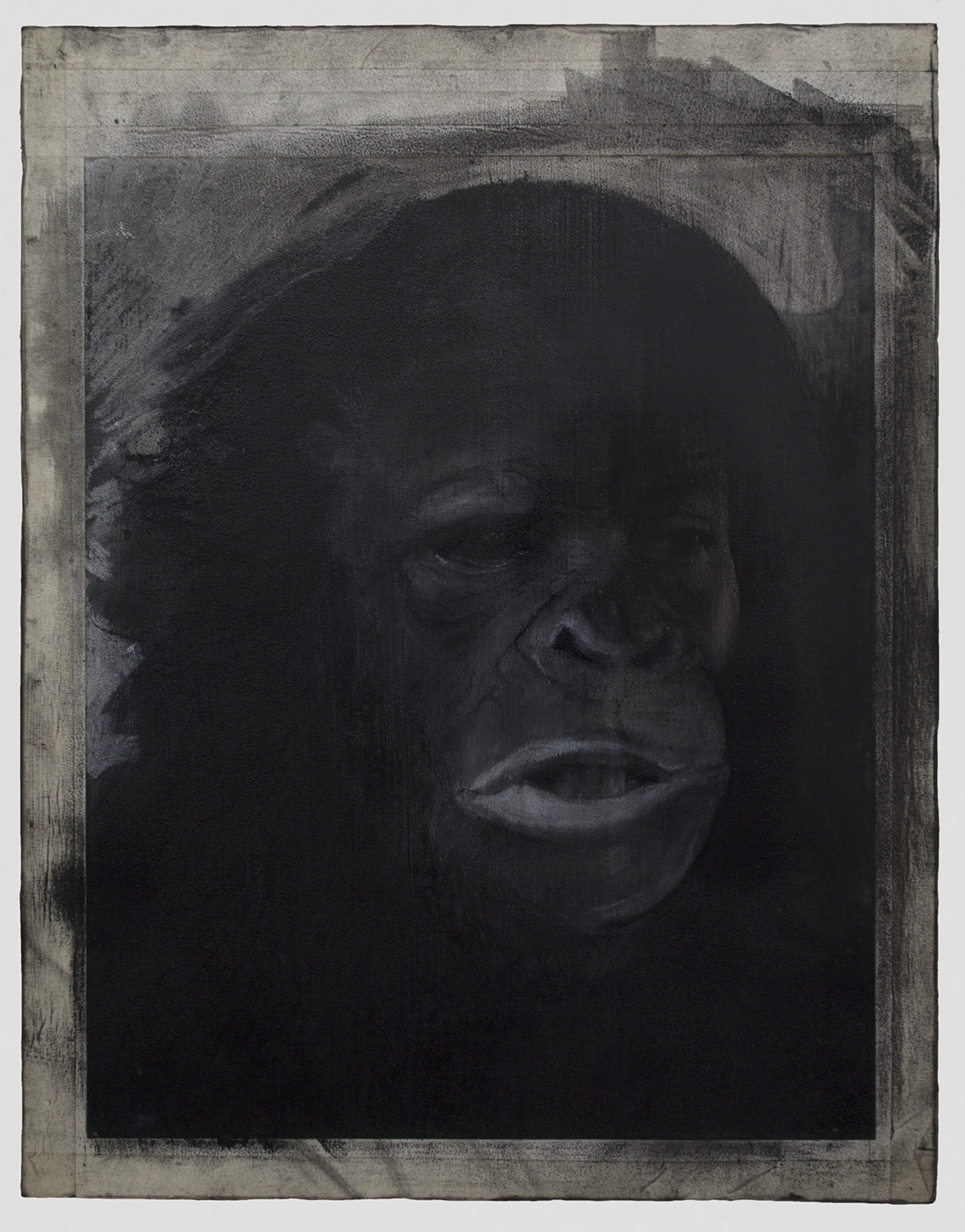 """Hominin Portrait #1  2014 / 18"""" x 14""""  Acrylic, Charcoal, Conte Crayon, Ink, Pastel, Print and Tape on paper on wood panel"""