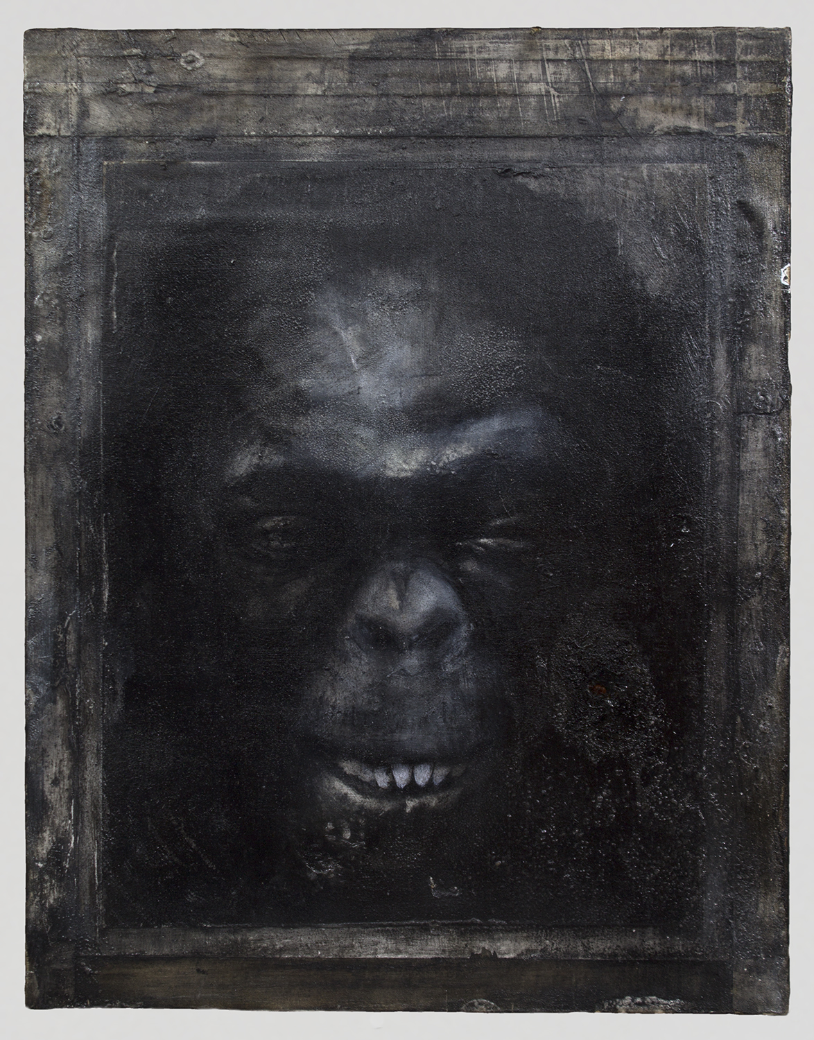 """Hominin Portrait #2  2014 / 18"""" x 14""""  Acrylic, Charcoal, Conte Crayon, Ink, Pastel, Print and Tape on paper on wood panel"""