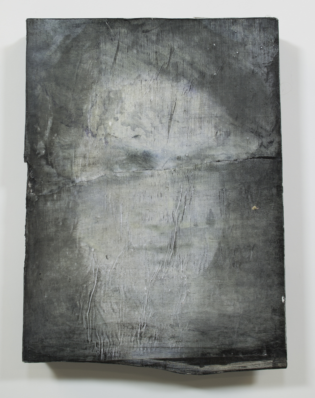 "Eve  2015 / 12.5"" x 11""  Charcoal,Acrylic,Ink, and Print on wood panel"