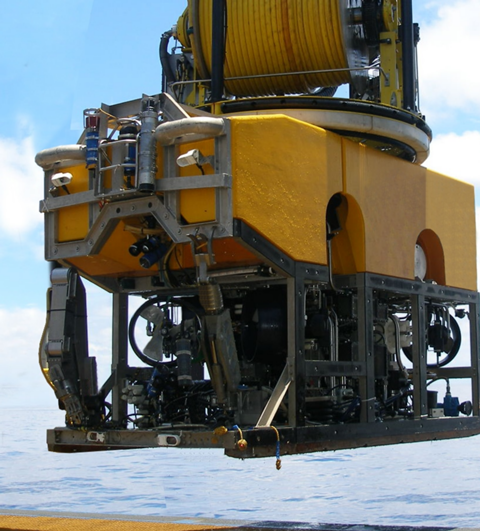 ROV launching from LARS for deepwater operations