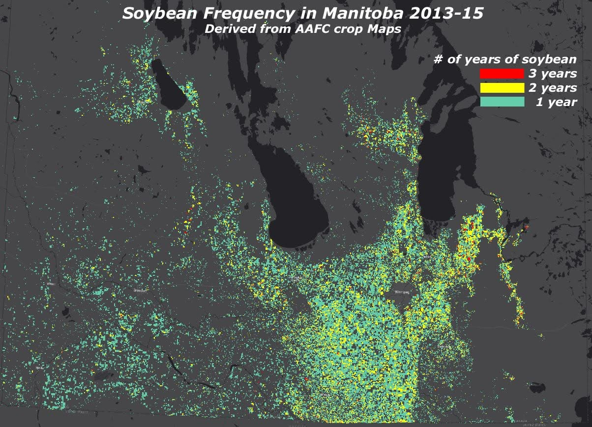 The Crop Inventory Map captures changes in agricultural land expansion and contraction (often due to urban expansion), as well as production trends. This map shows the significant spread of soybeans across Manitoba and the Prairies.