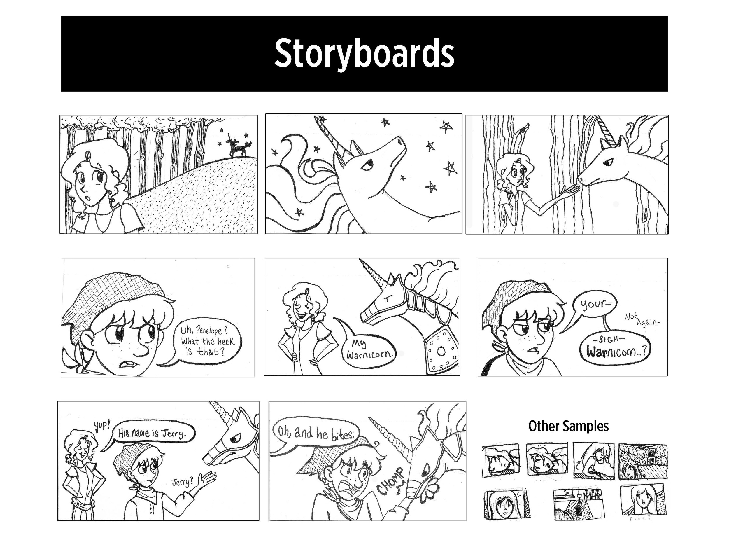 Storyboarding examples of self created stories Princess Penelope and Newly Deads.
