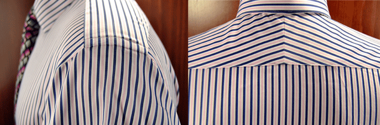 Notice on the left picture the should fabric is lined up perfect with the sleeve fabric. The right picture, the split yoke fabrics are perfectly lined up with each other making the tip of the triangle.