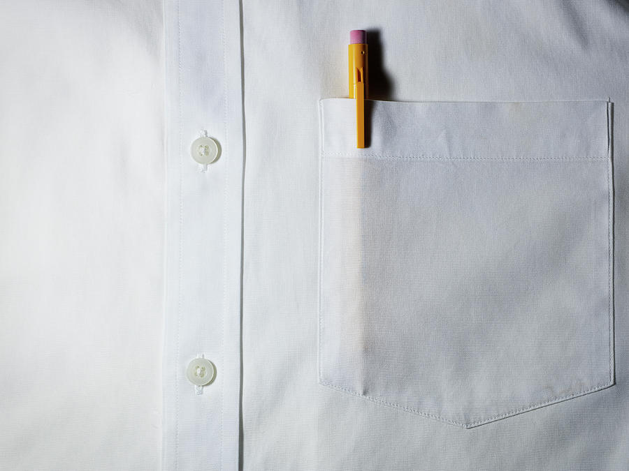 Funny how the dress shirt with a pocket also has a conventional placket- I wonder if it has a button down collar?