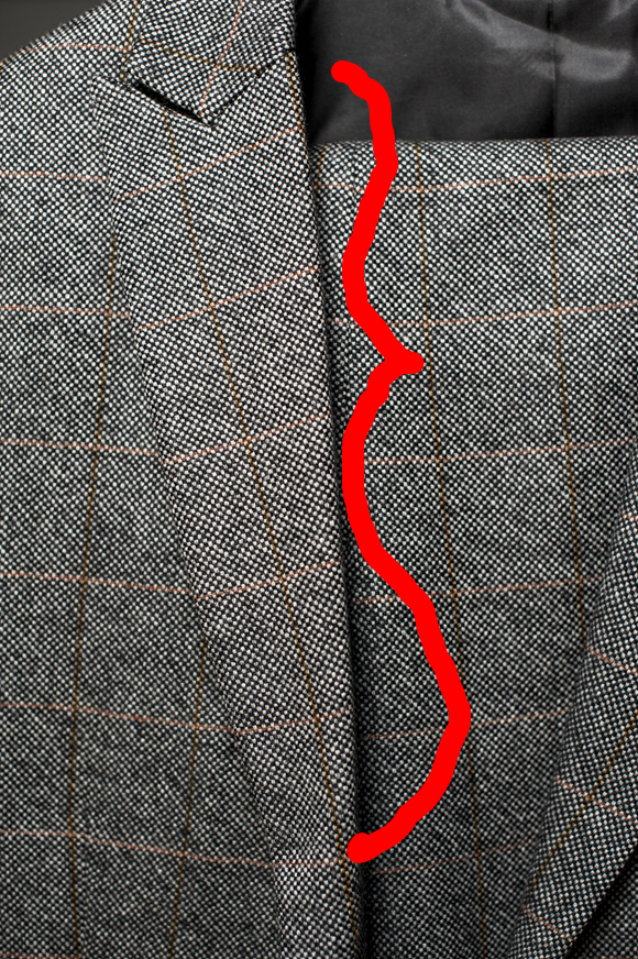 The crease of the lapel is very sharp