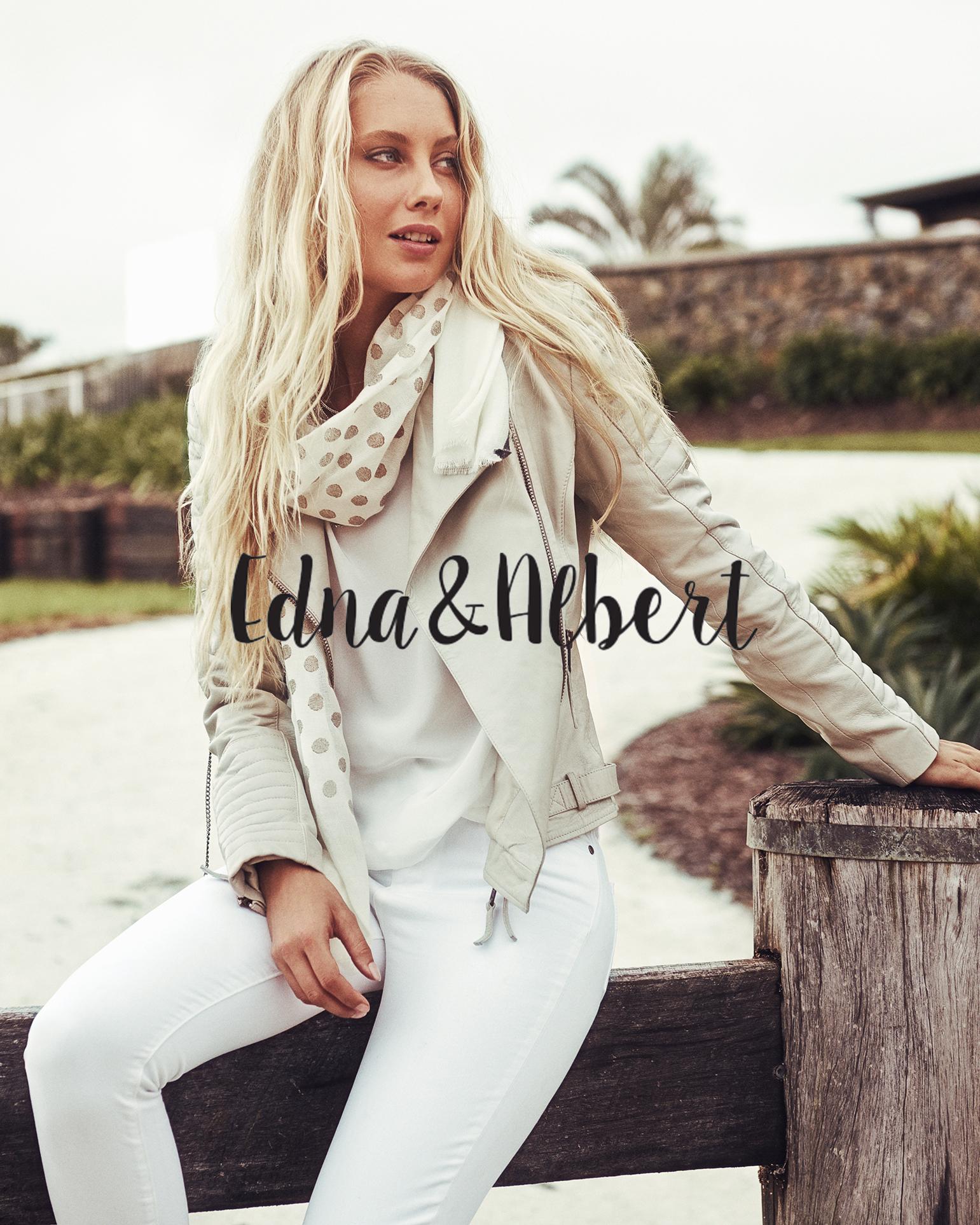 EDNA & ALBERT     Model - Amanda Guyling / Stylist - Marisa Sidoti /  HMUA - Nicholas Morley    Location - The Grove, Byron Bay. NSW