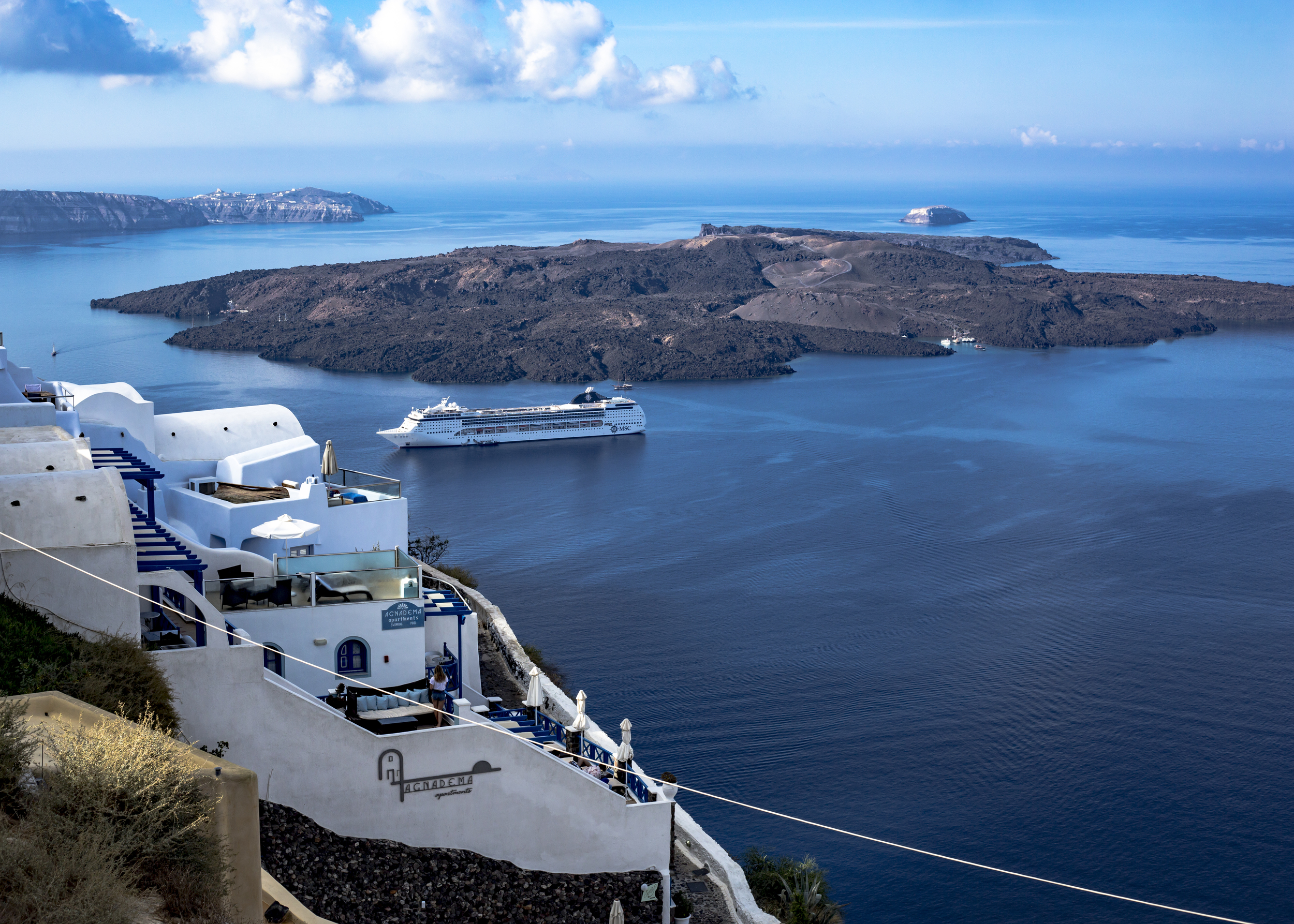Many of the hotels in Thira offer beautiful views of the Aegean Sea.