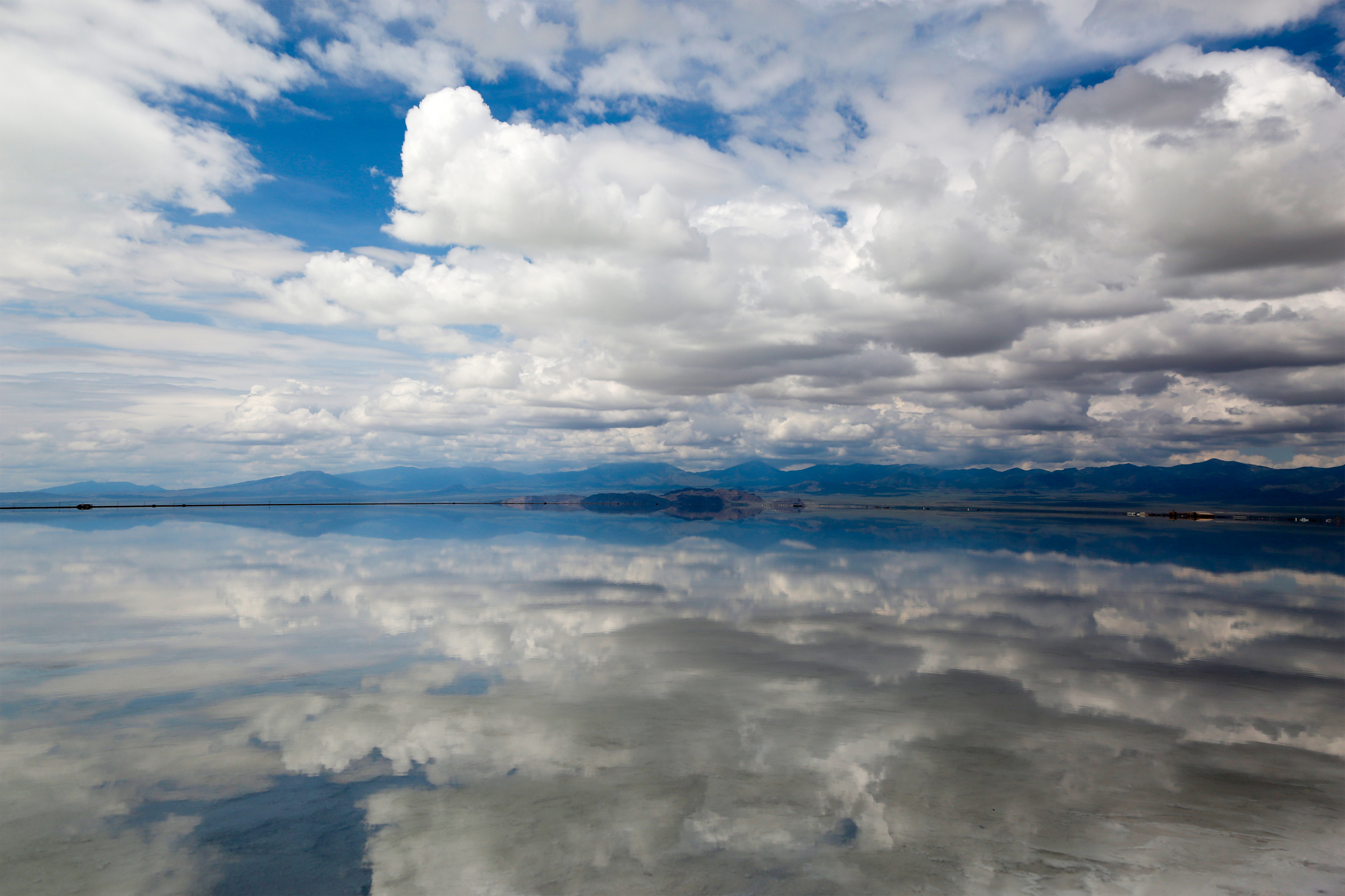 It is often hard to tell where the land ends and the horizon begins in the remote Bonneville Salt Flats,