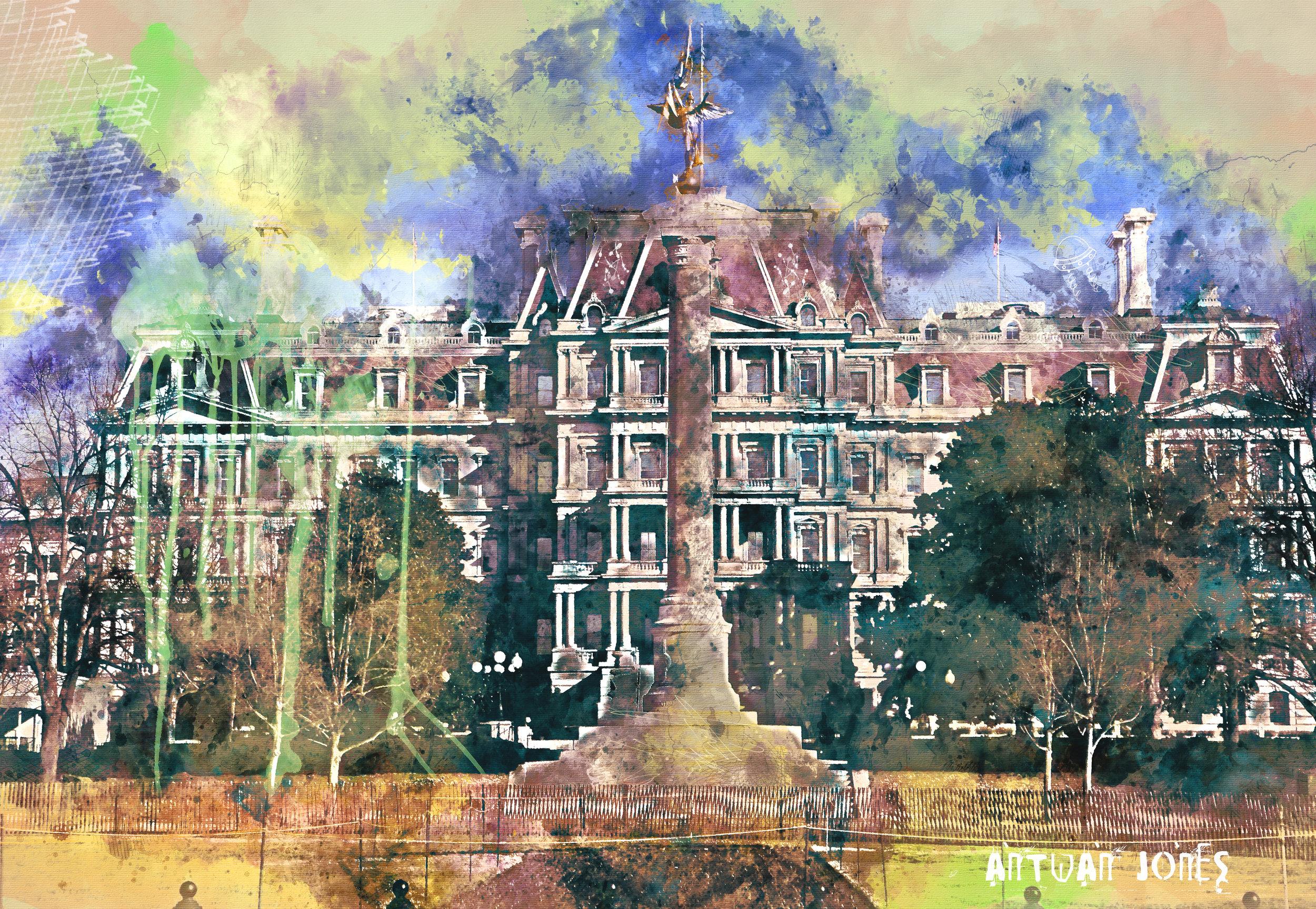 DC Palace - Mixed Media/Watercolor