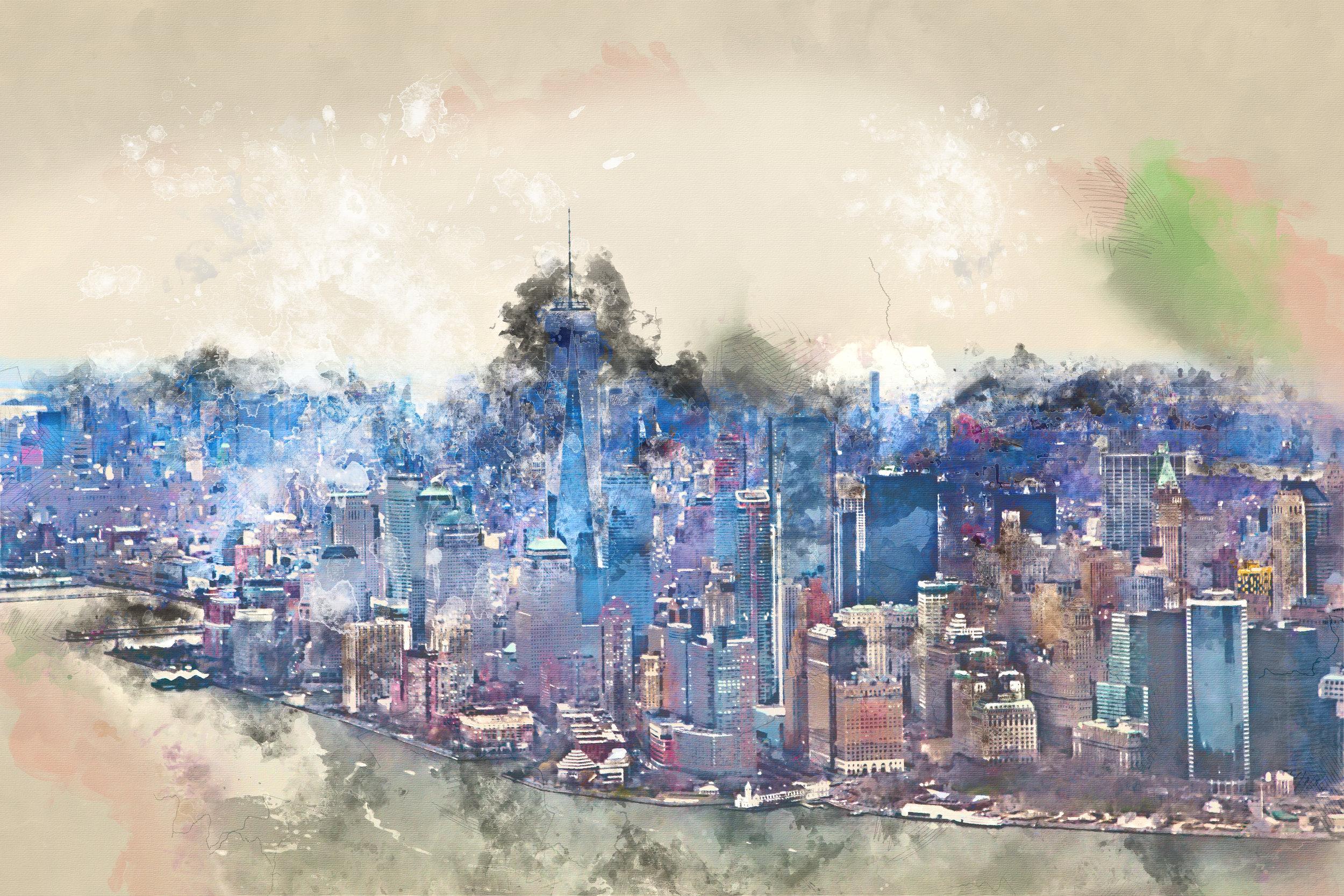 New yawk, new yawk - Mixed Media/Watercolor