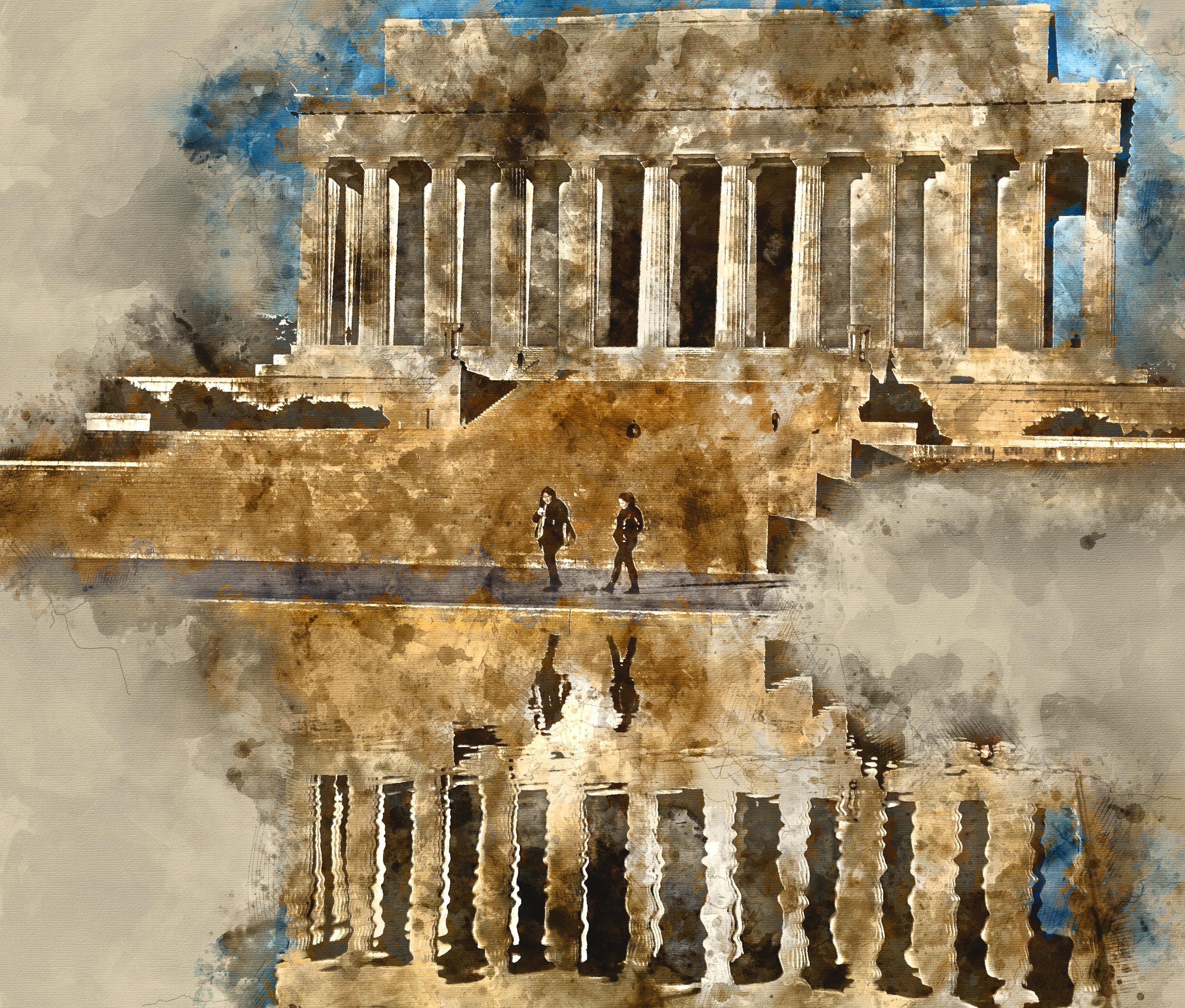 Lincoln Memorial - Mixed Media/Watercolor
