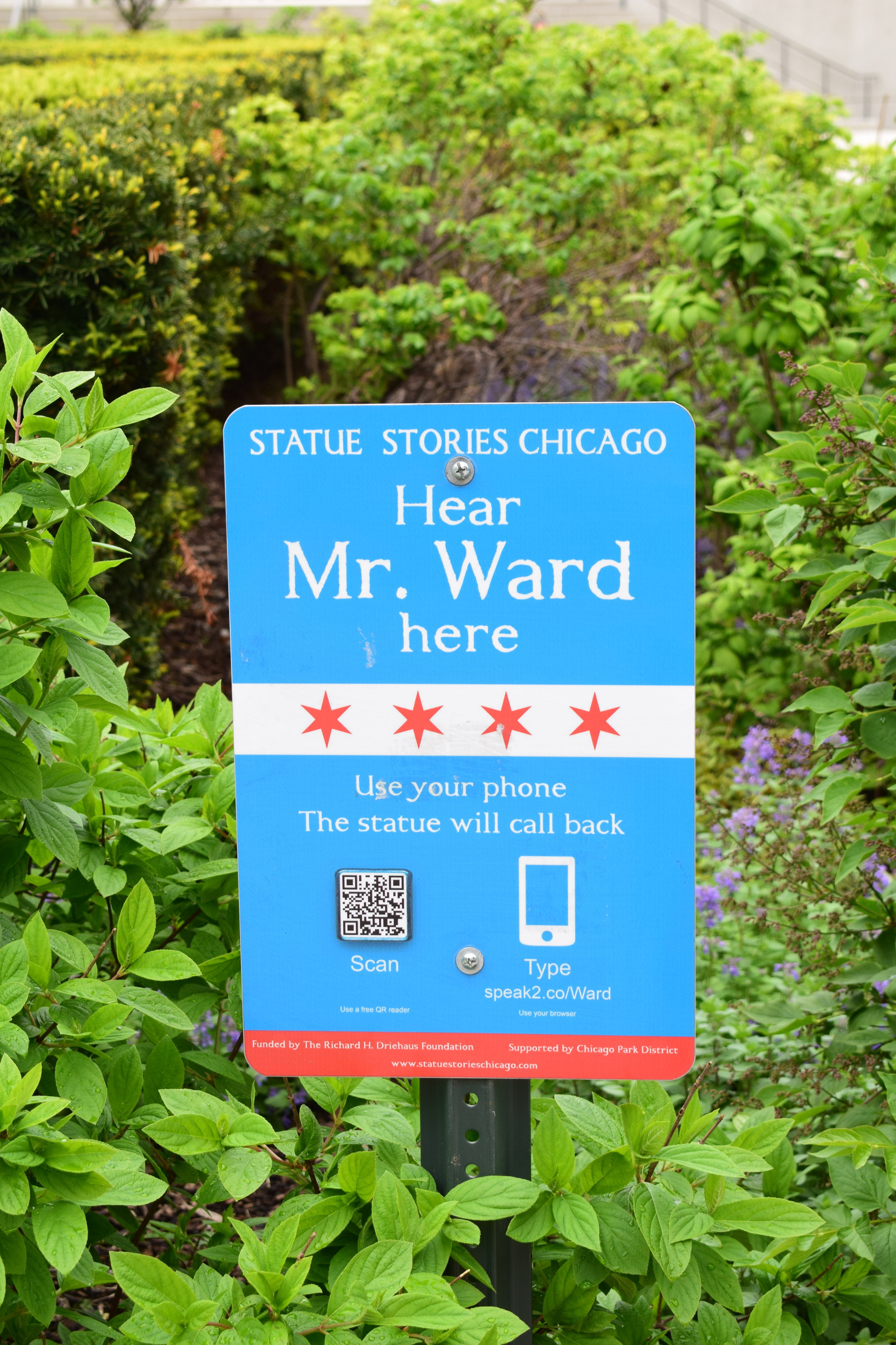 QR Sign at Ward Statue - photo by Maren Robinson