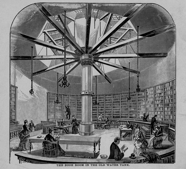 The Book Room in the Old Water Tank - photo from Chicago Public Library web site