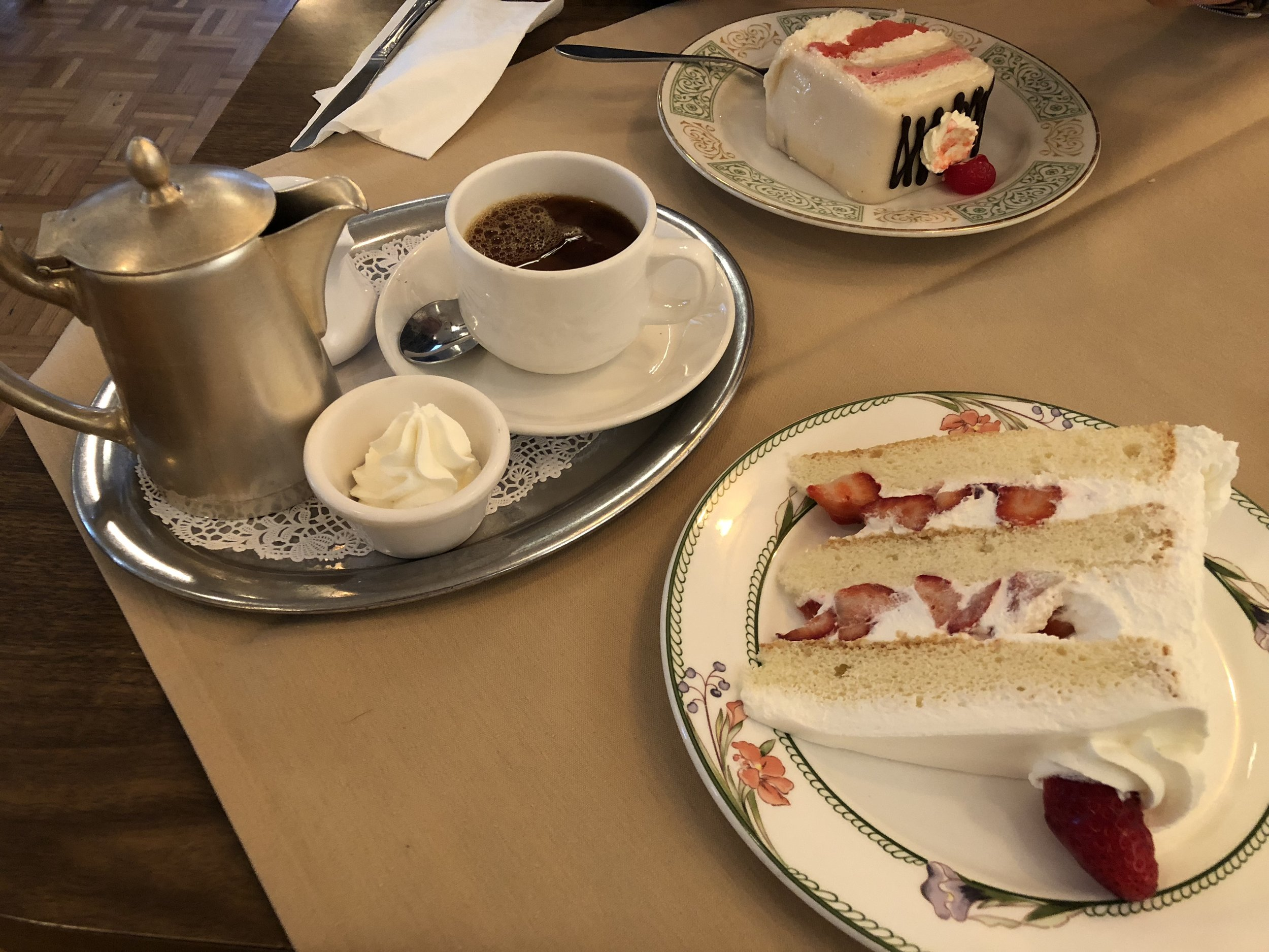 Strawberry Whipped Cream Torte and Coffee at Lutz - photo by LaRonika Thomas