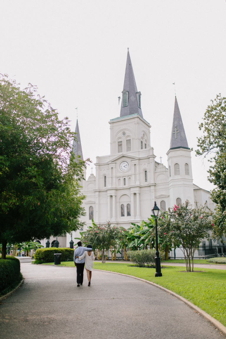 Sneak peek of our engagement pictures // St. Louis Cathedral in the French Quarter