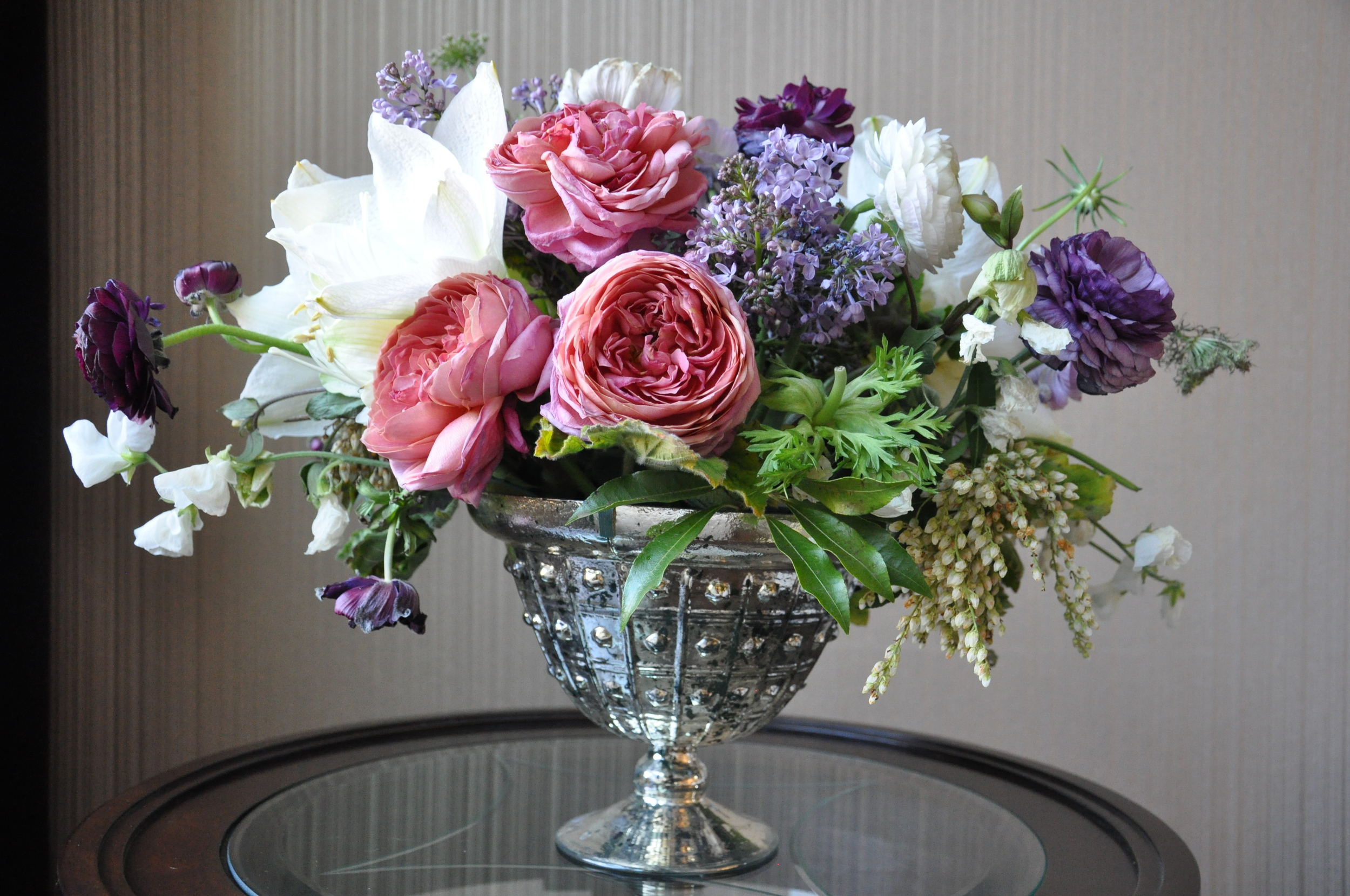 These arrangements left over from the bridal shower are currently all over my house and I couldn't be happier about it.