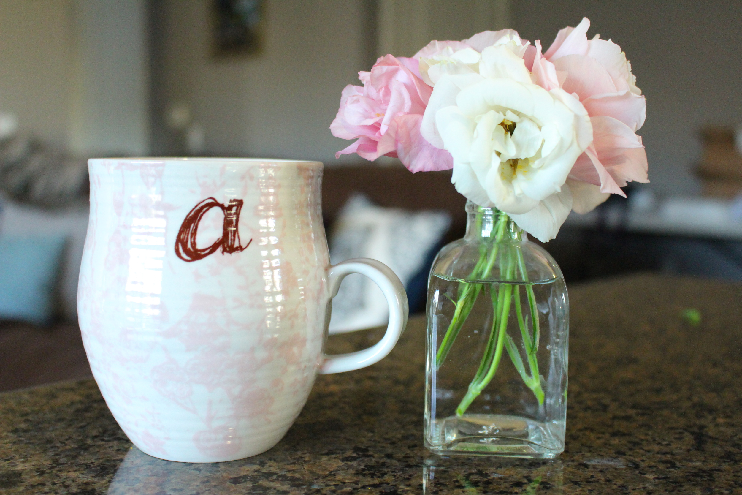 The most beautiful coffee mugs from Anthropologie, that just so happen to match my flowers.