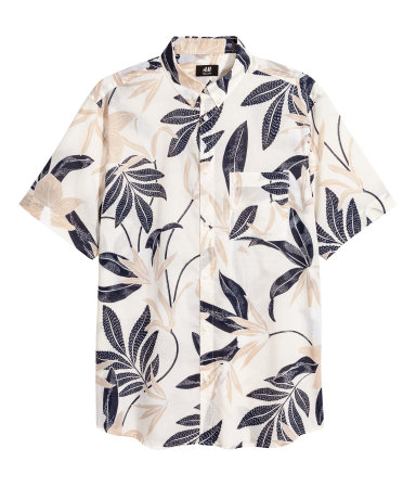 H&M Mens - Short-sleeve Regular Fit (Natural White/Patterned)