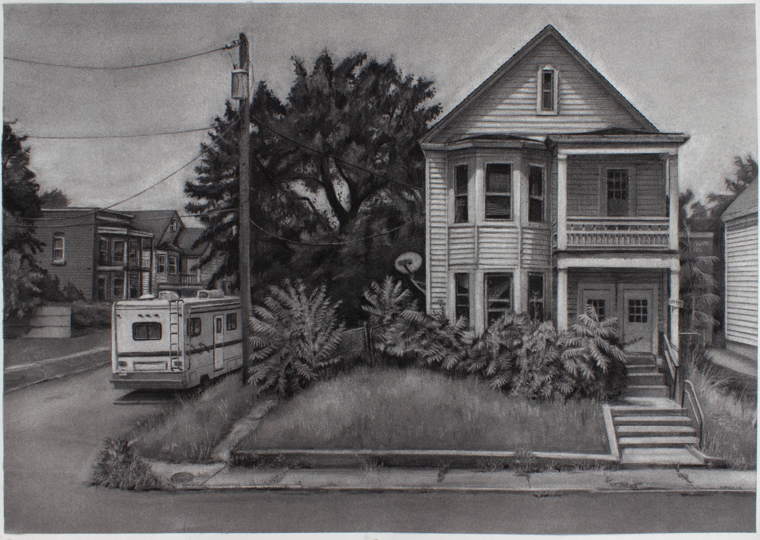 """Hutton and 12th, Troy, NY- 23.25"""" x 33.5"""" - charcoal on Arches Cover paper - 2018"""