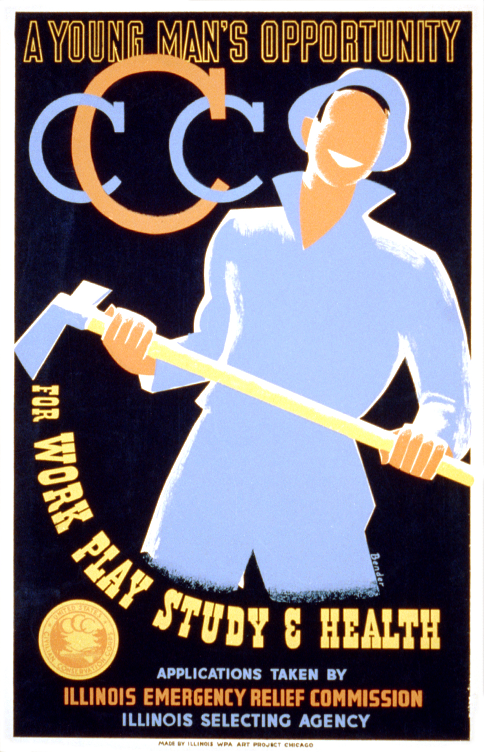 CCC  poster by Albert M. Bender, Illinois WPA Art Project (1935)