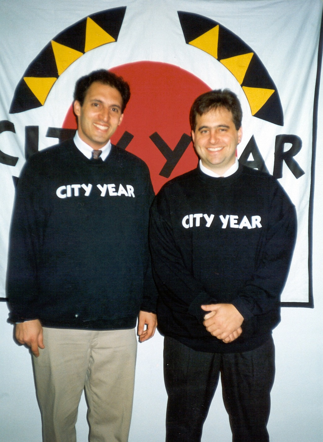 City Year co-founders  Alan Khazei  and  Michael Brown  in original City Year sweatshirts. (1988)