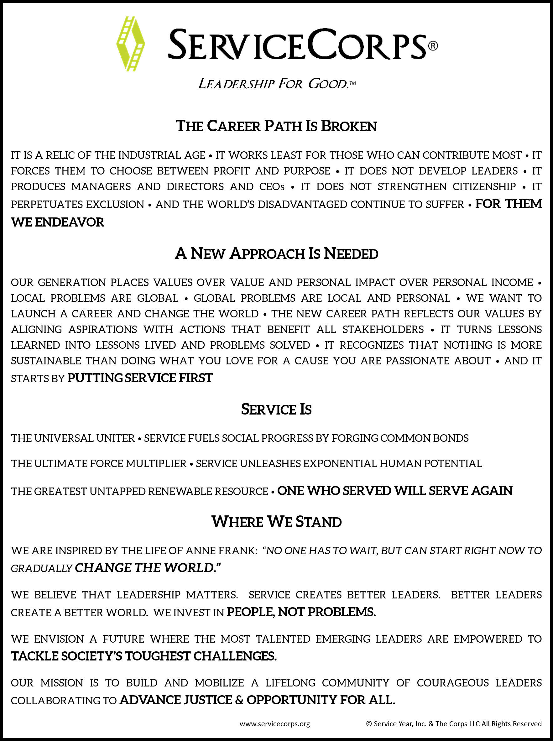 ServiceCorps Manifesto