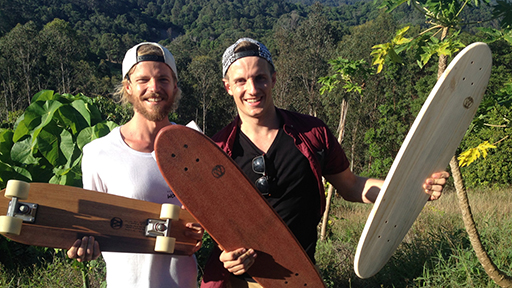Tyler (Worthy Skateboards) and presenter Alex Battye from Totally Wild TV
